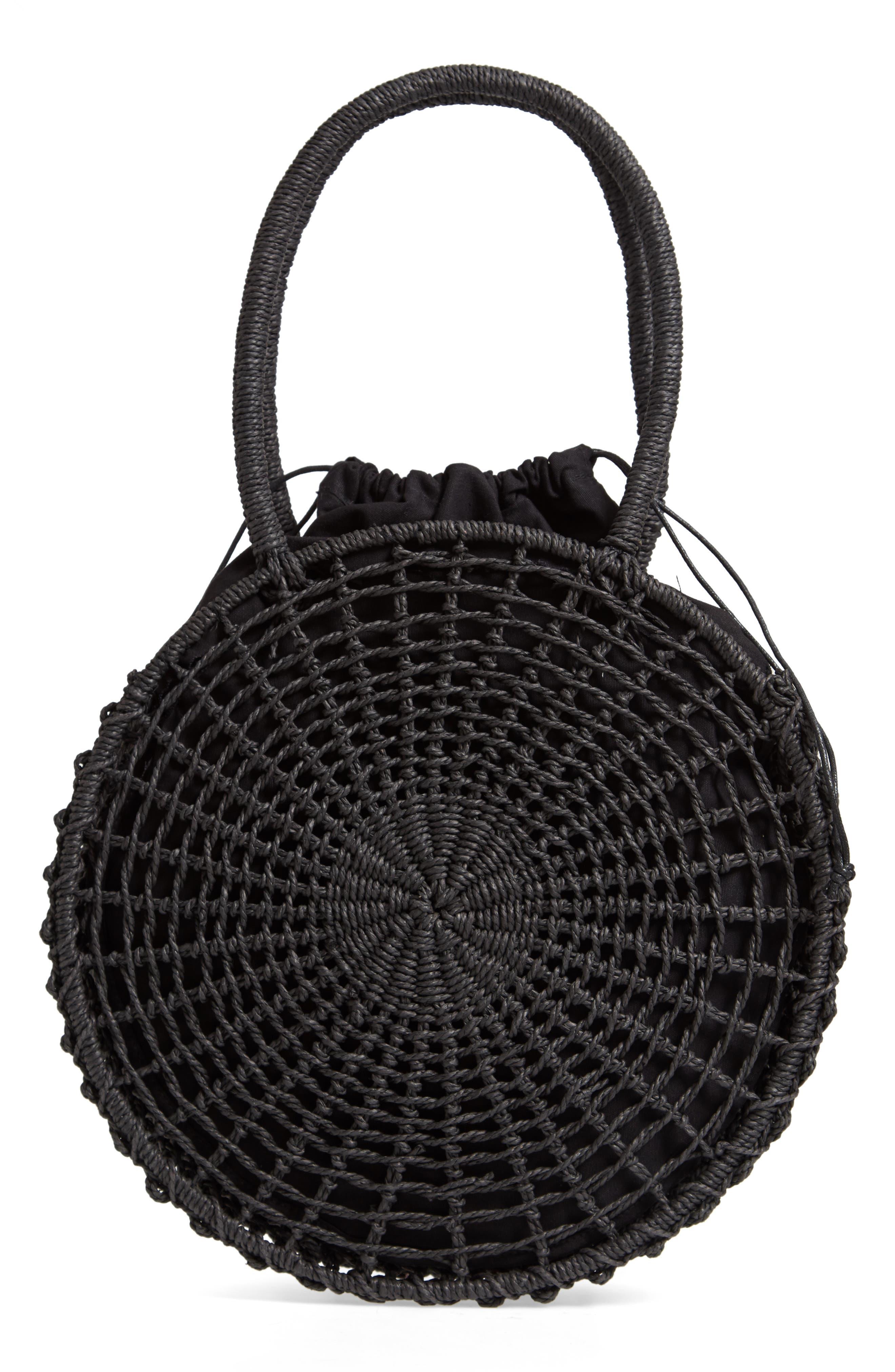 Bella Straw Circle Tote Handbag,                             Alternate thumbnail 3, color,                             BLACK