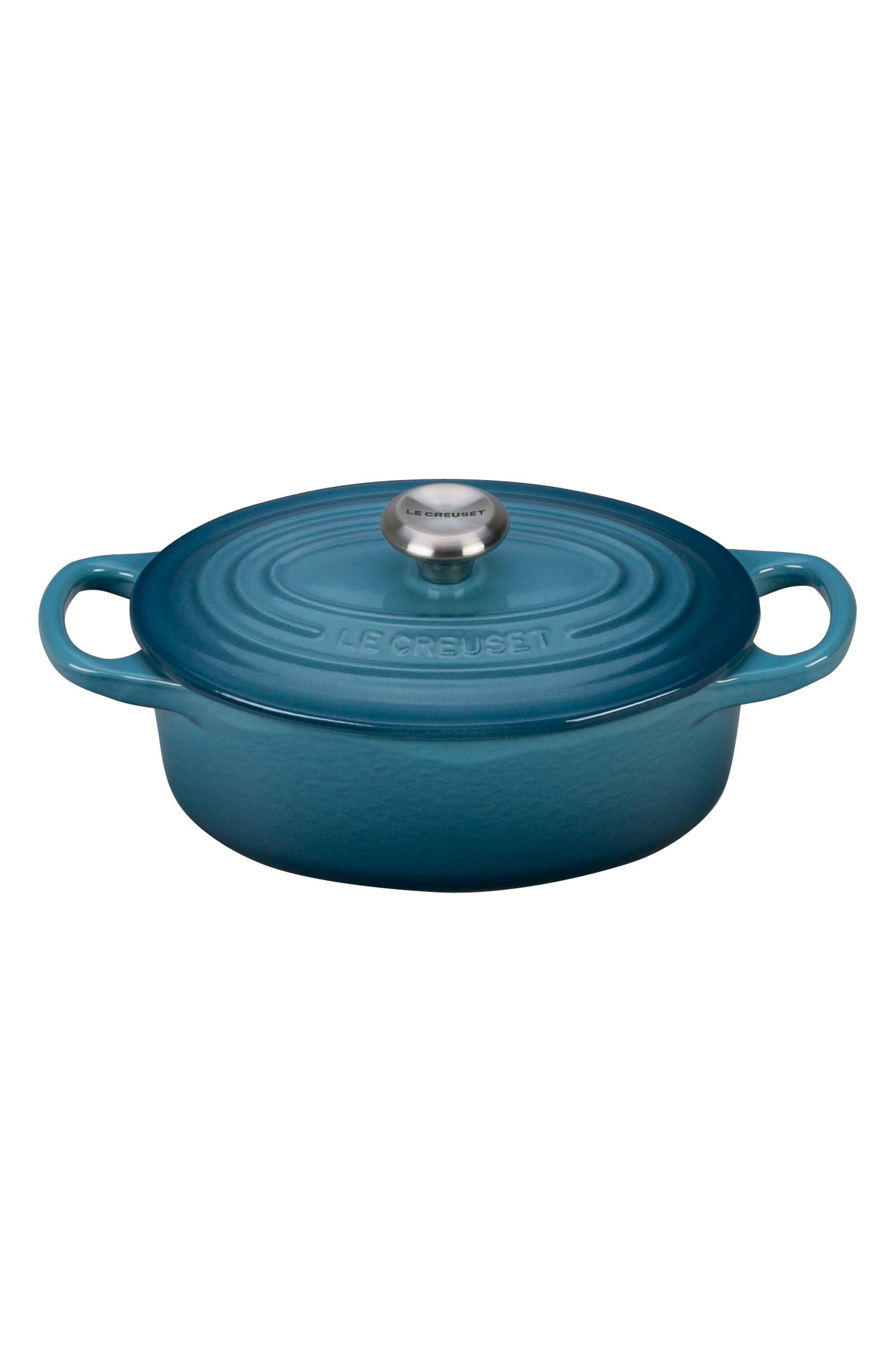 Signature 1-Quart Oval Enamel Cast Iron French/Dutch Oven,                         Main,                         color, MARINE