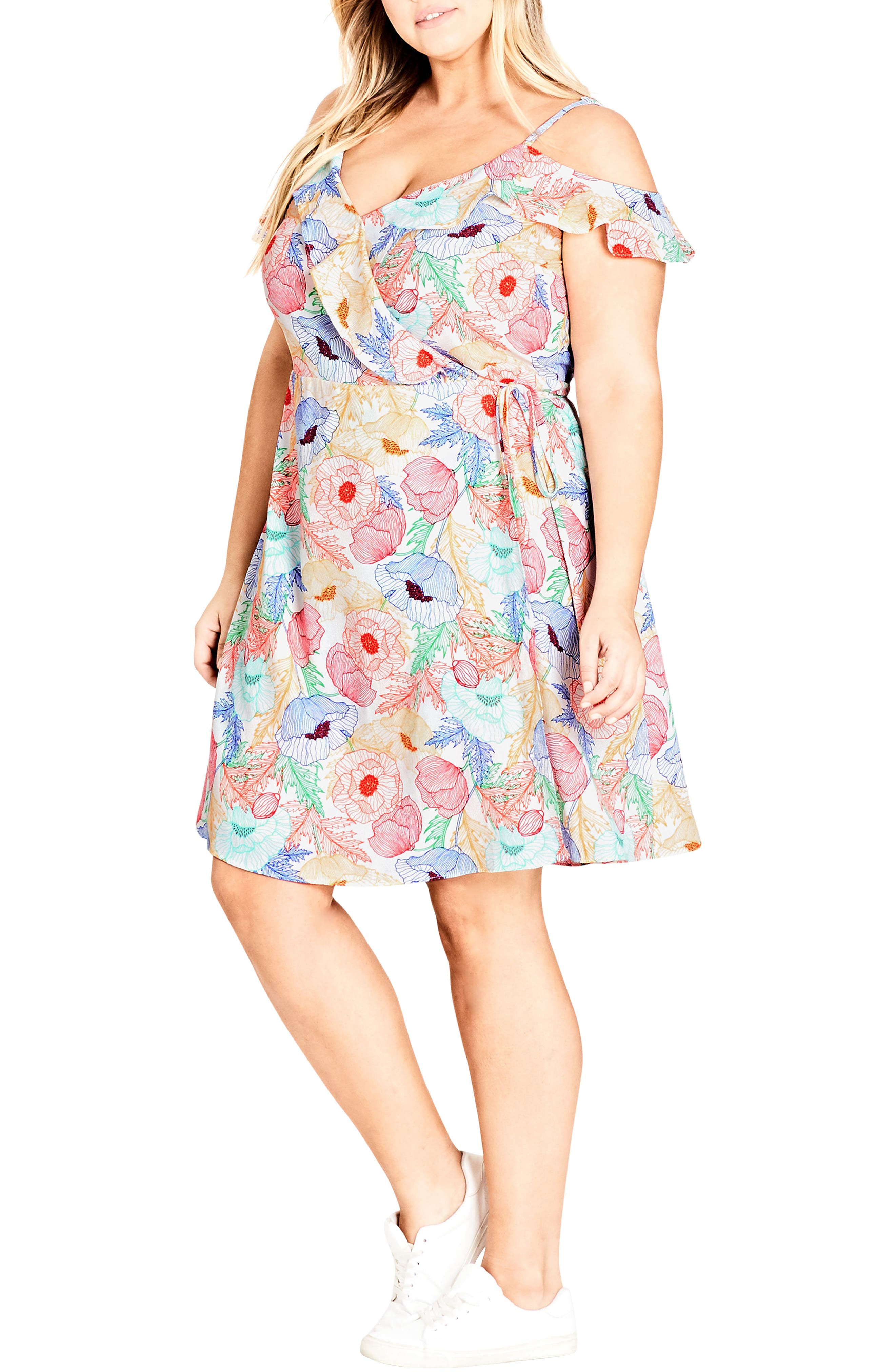 Plus Size City Chic Etched Poppy Wrap Dress, White