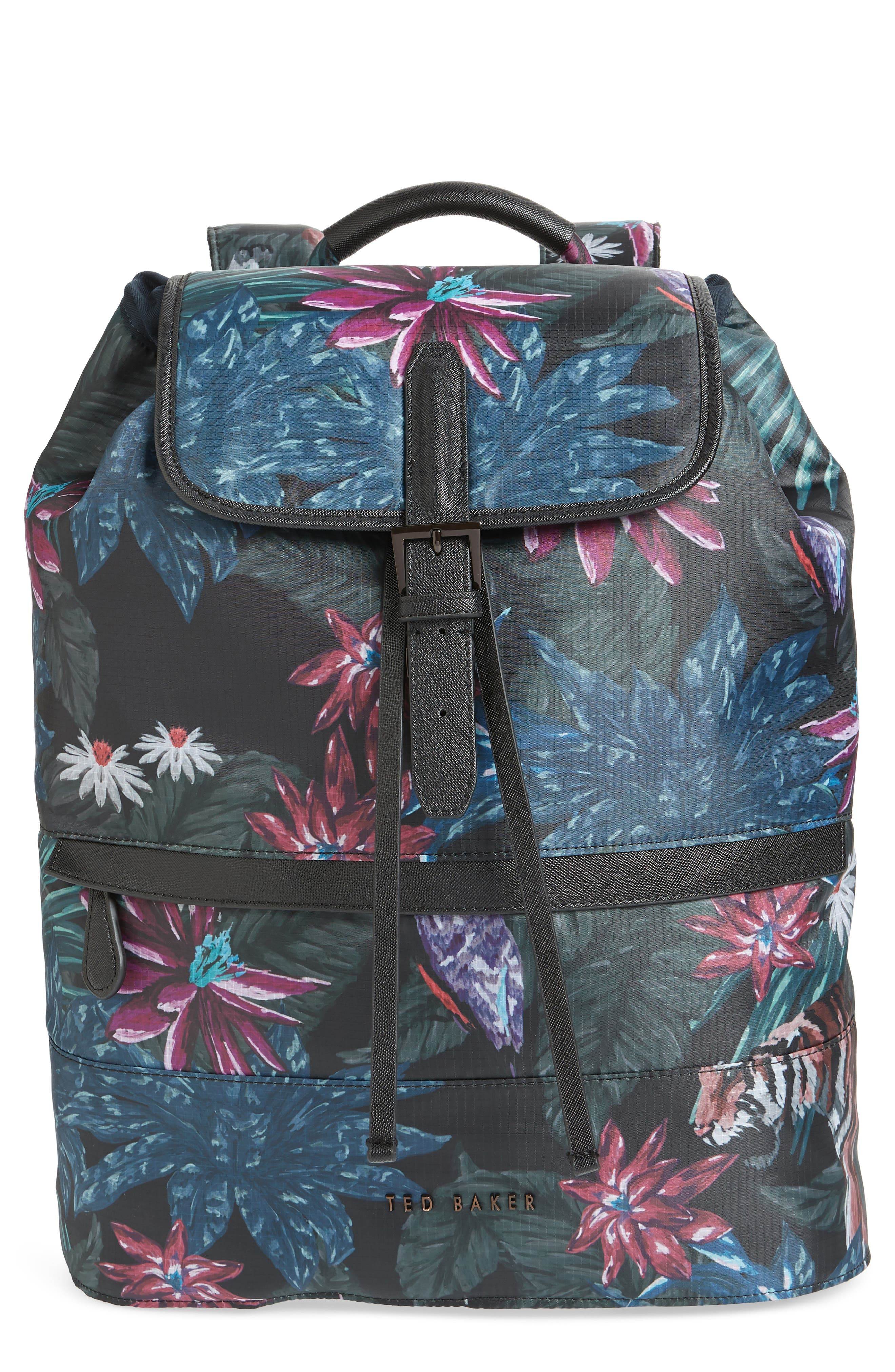 Revving Print Backpack,                         Main,                         color, BLACK