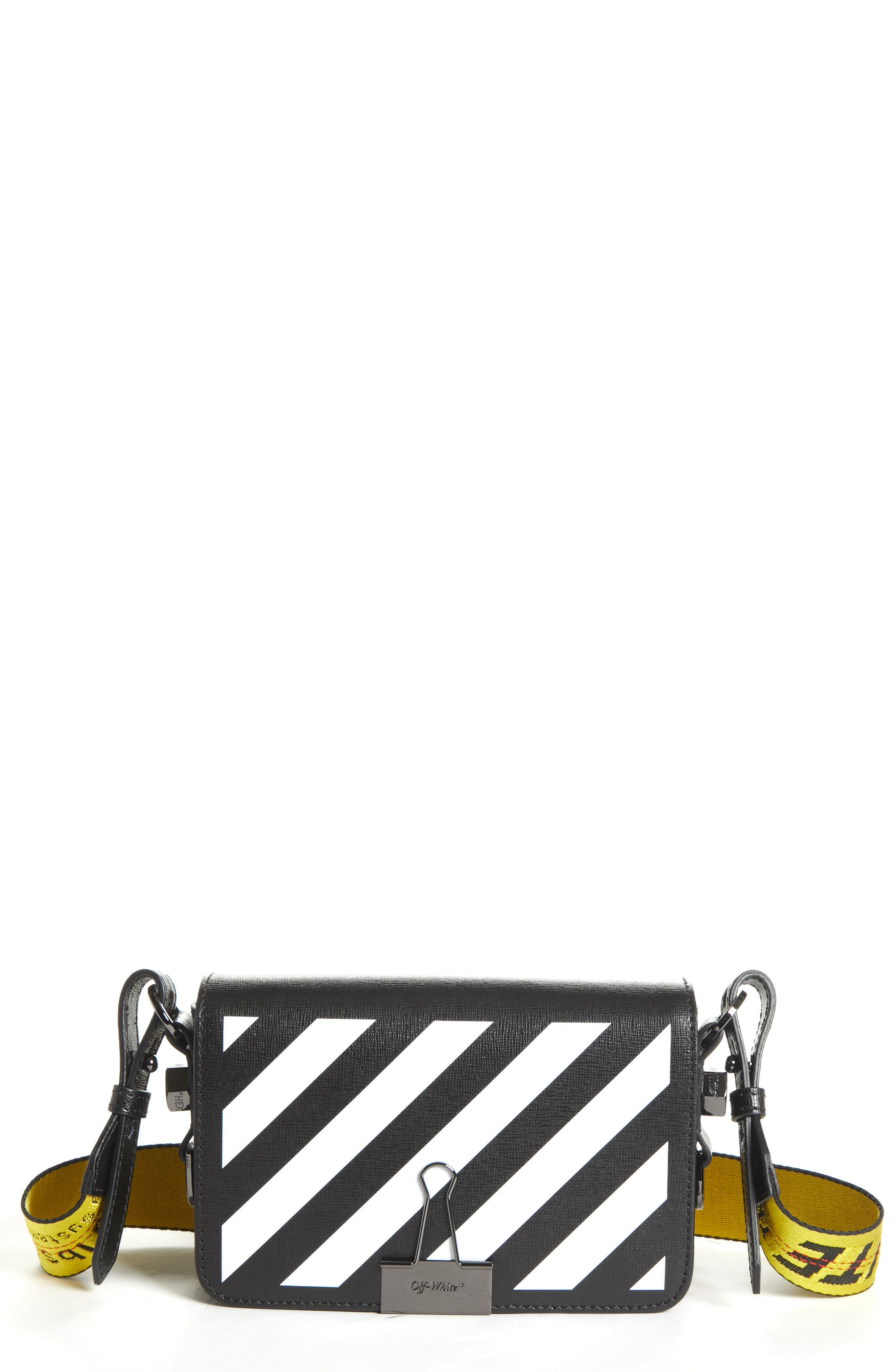 Mini Diagonal Stripe Binder Clip Shoulder Bag in Fucshia White