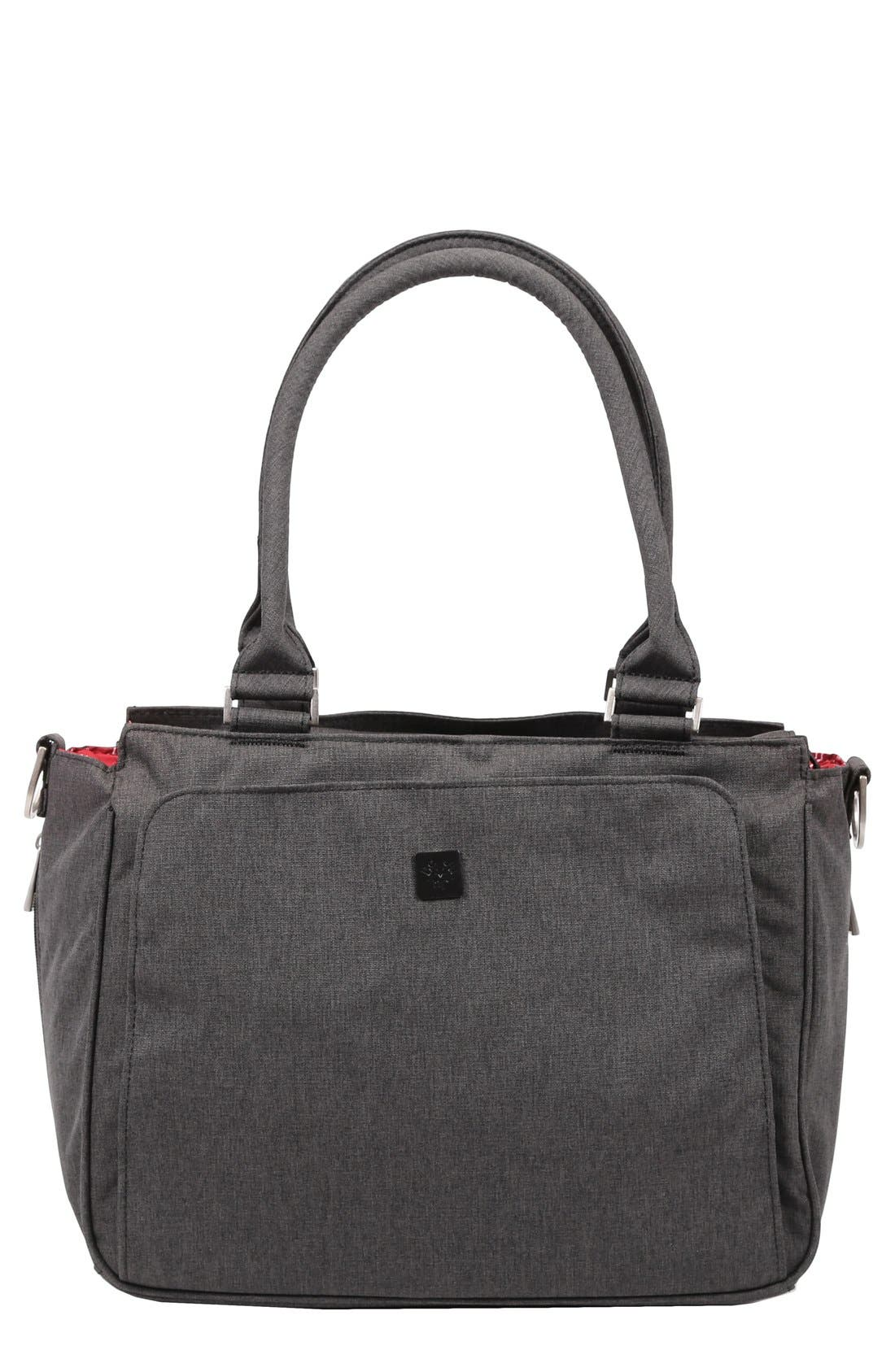 'Be Classy - Onyx Collection' Messenger Diaper Bag,                             Main thumbnail 1, color,                             CHROME