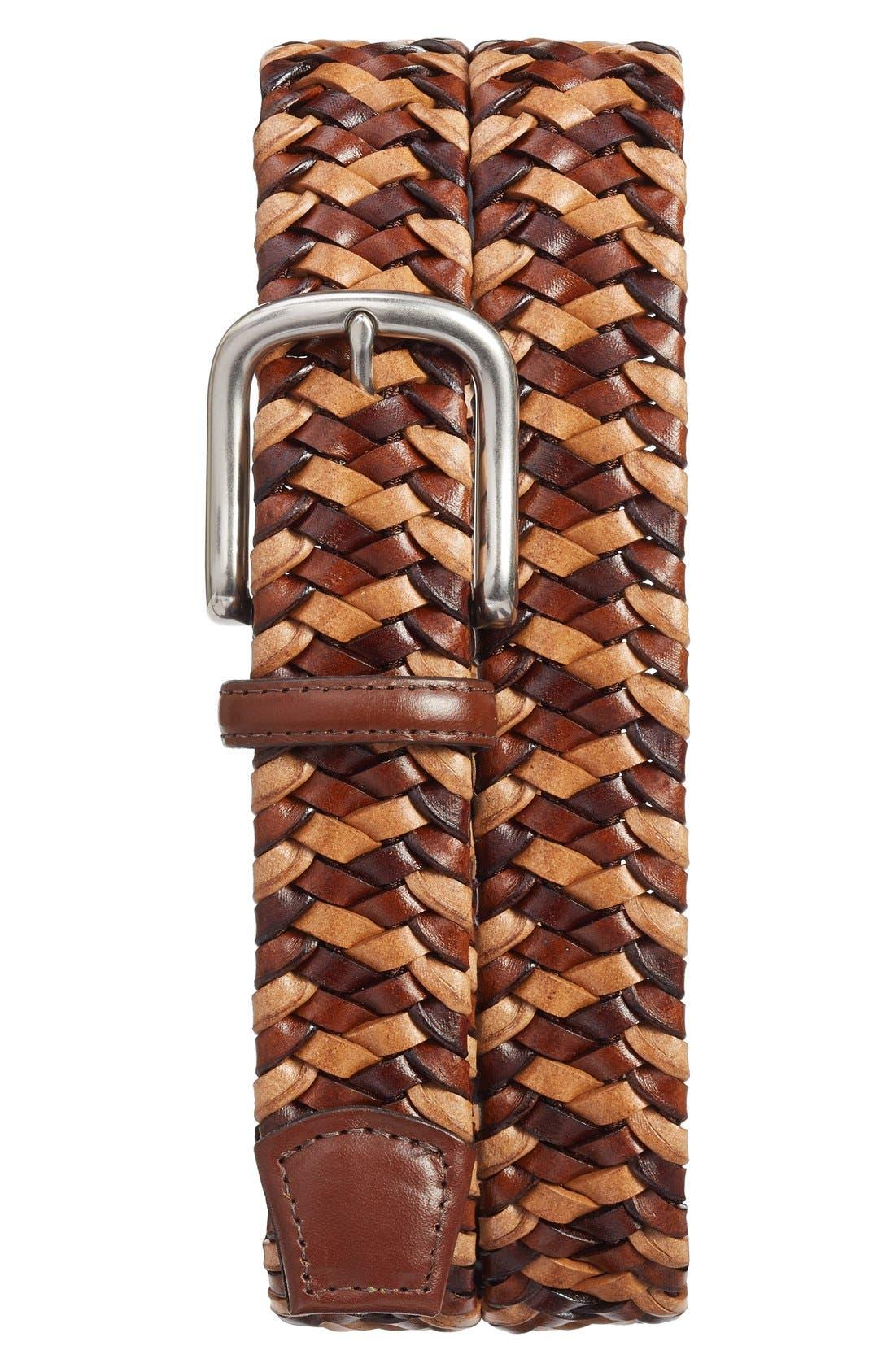 Woven Leather Belt,                         Main,                         color, COGNAC