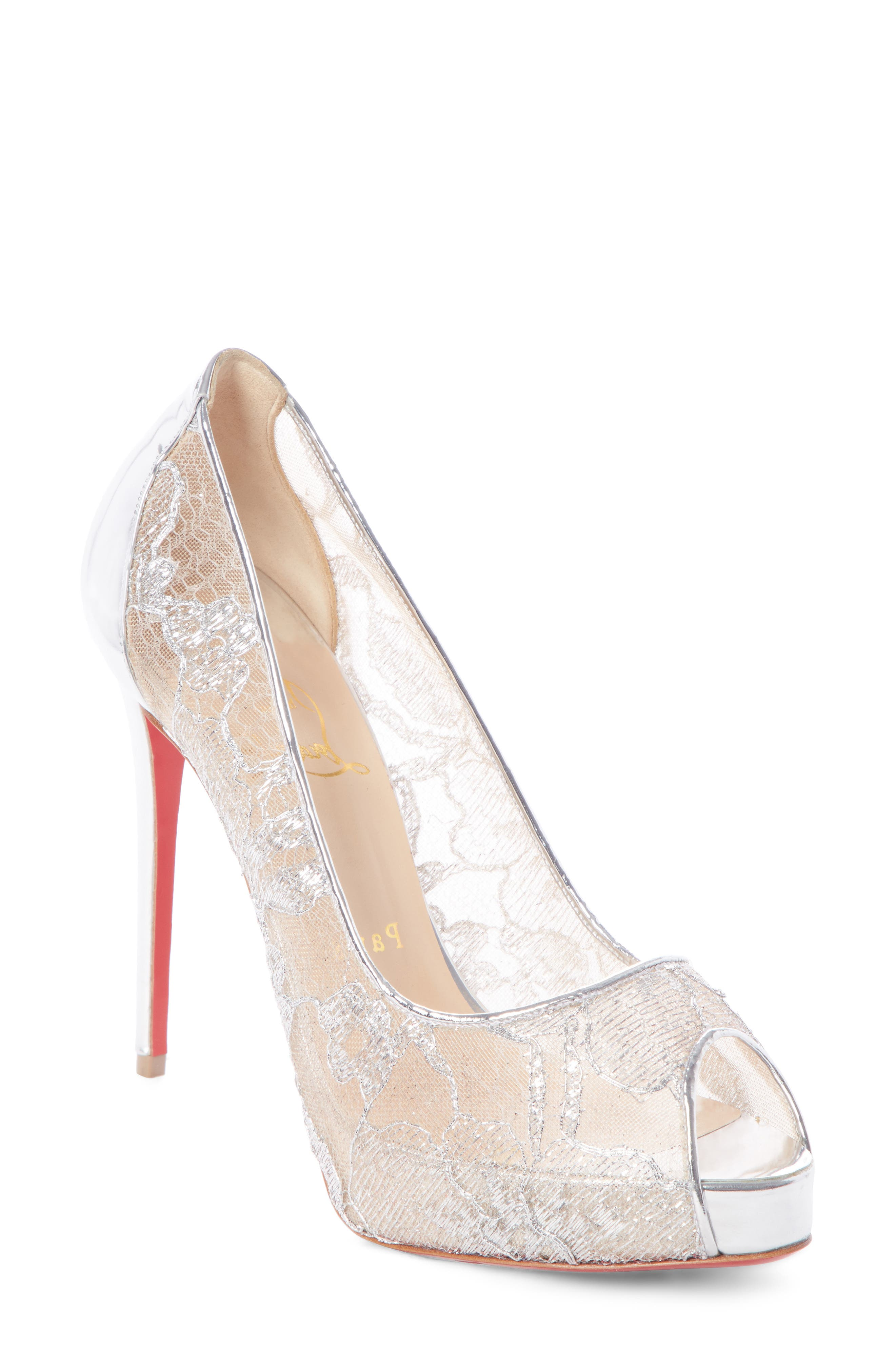Very Lace 120Mm Metallic Peep-Toe Red Sole Pumps in Silver