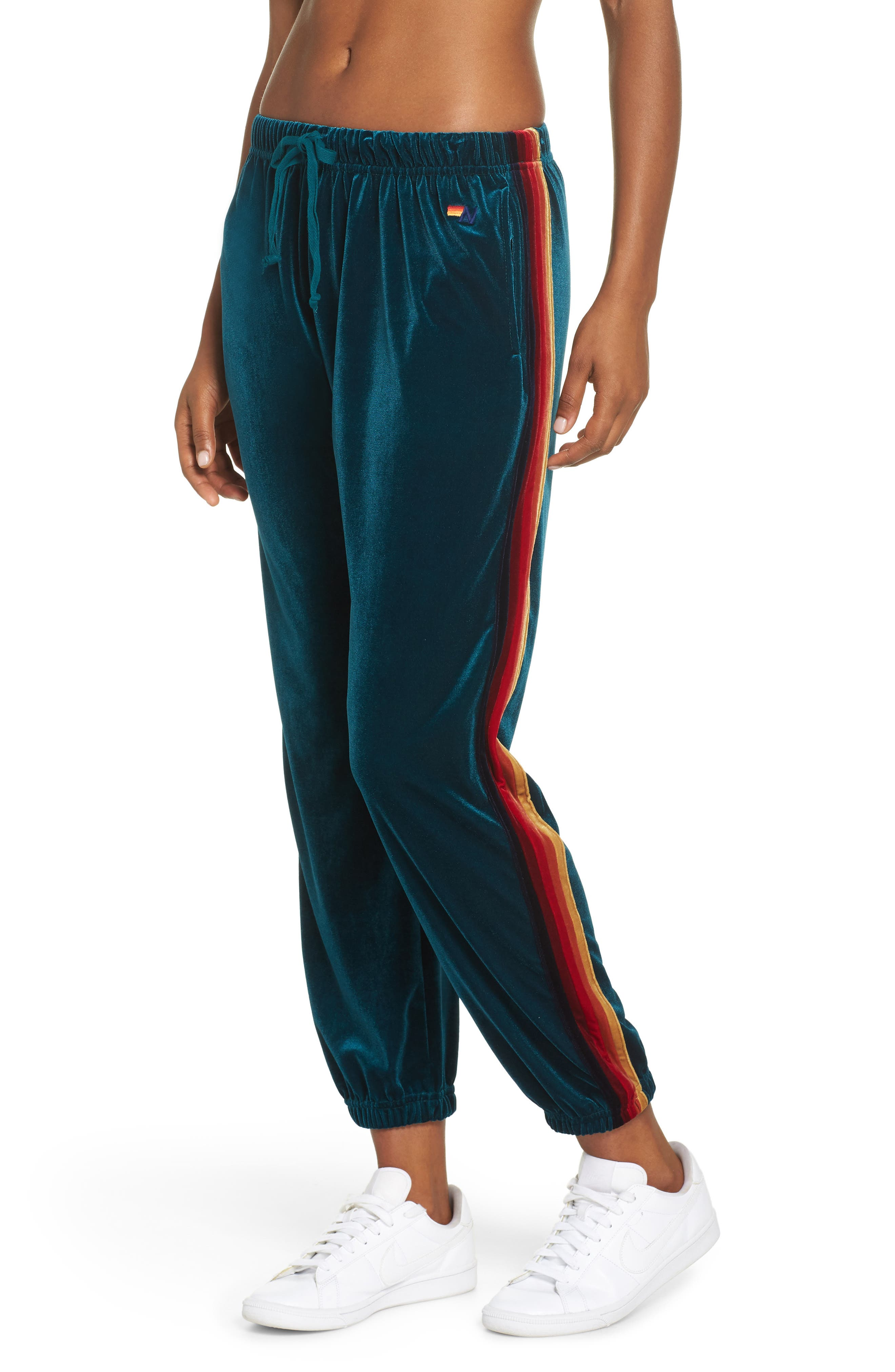 Classic Velvet Sweatpants,                         Main,                         color, TEAL/ RAINBOW