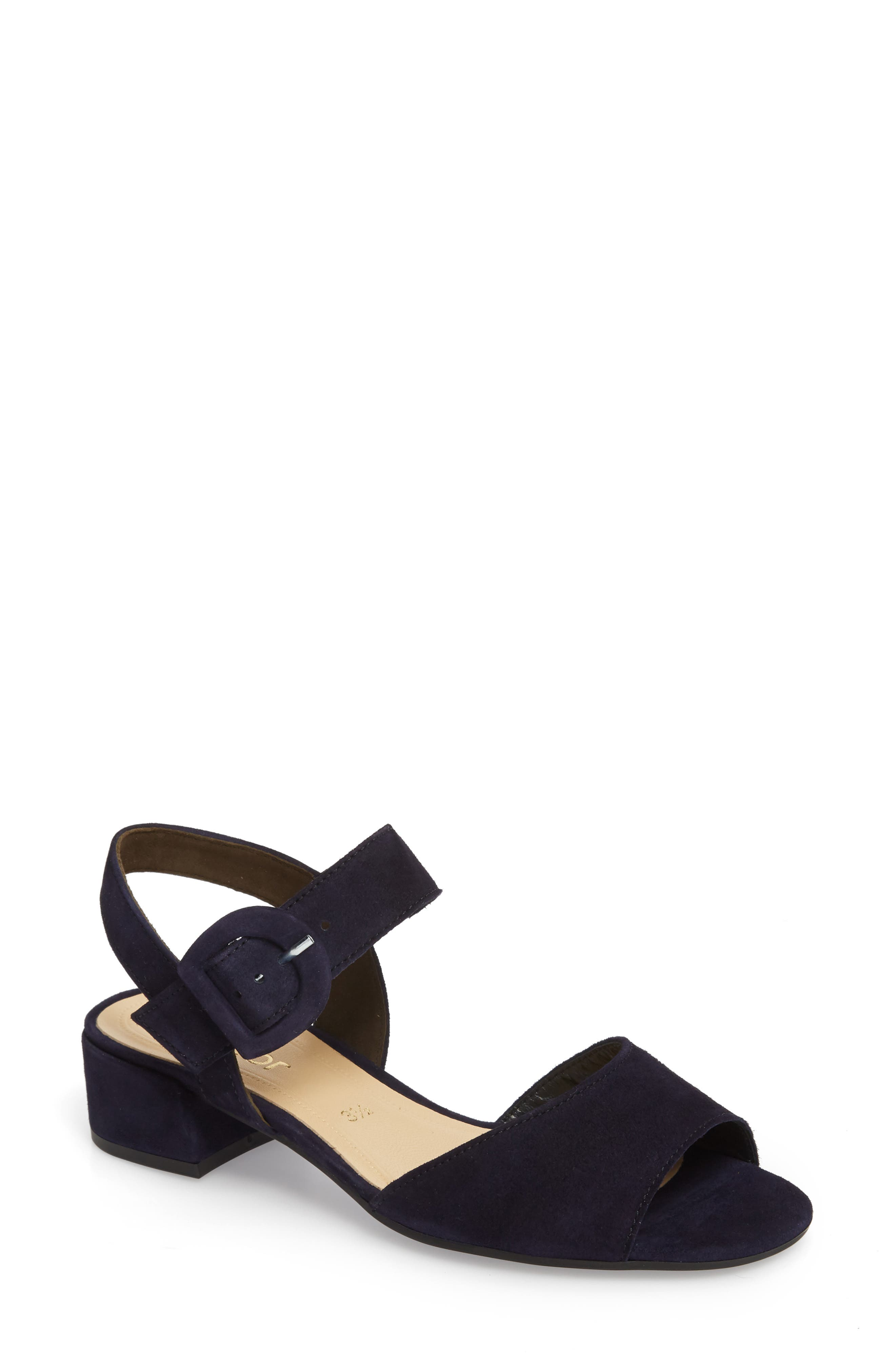 Block Heel Sandal,                             Main thumbnail 1, color,                             NAVY SUEDE
