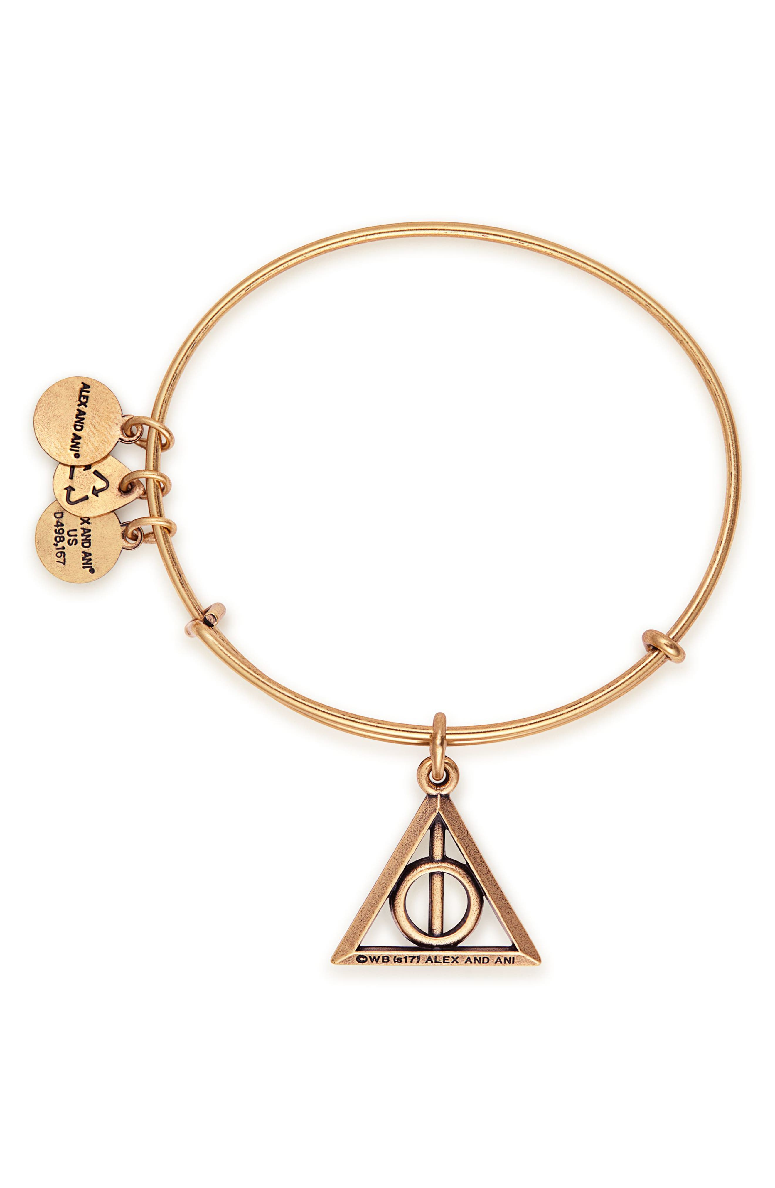 Harry Potter<sup>™</sup> Deathly Hallows<sup>™</sup> Adjustable Wire Bangle,                             Alternate thumbnail 2, color,                             GOLD