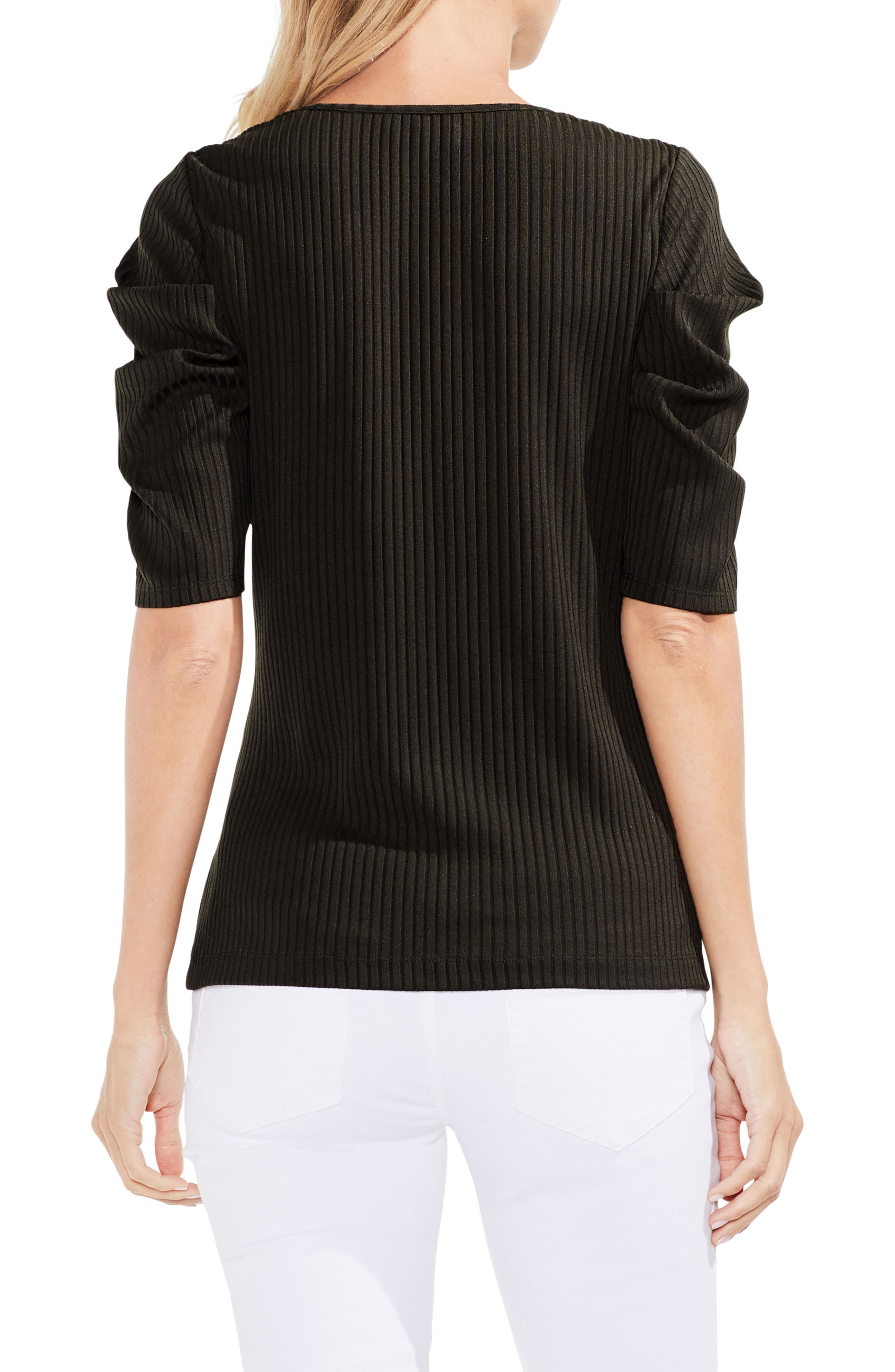 Draped Sleeve Ribbed Tee,                             Alternate thumbnail 7, color,