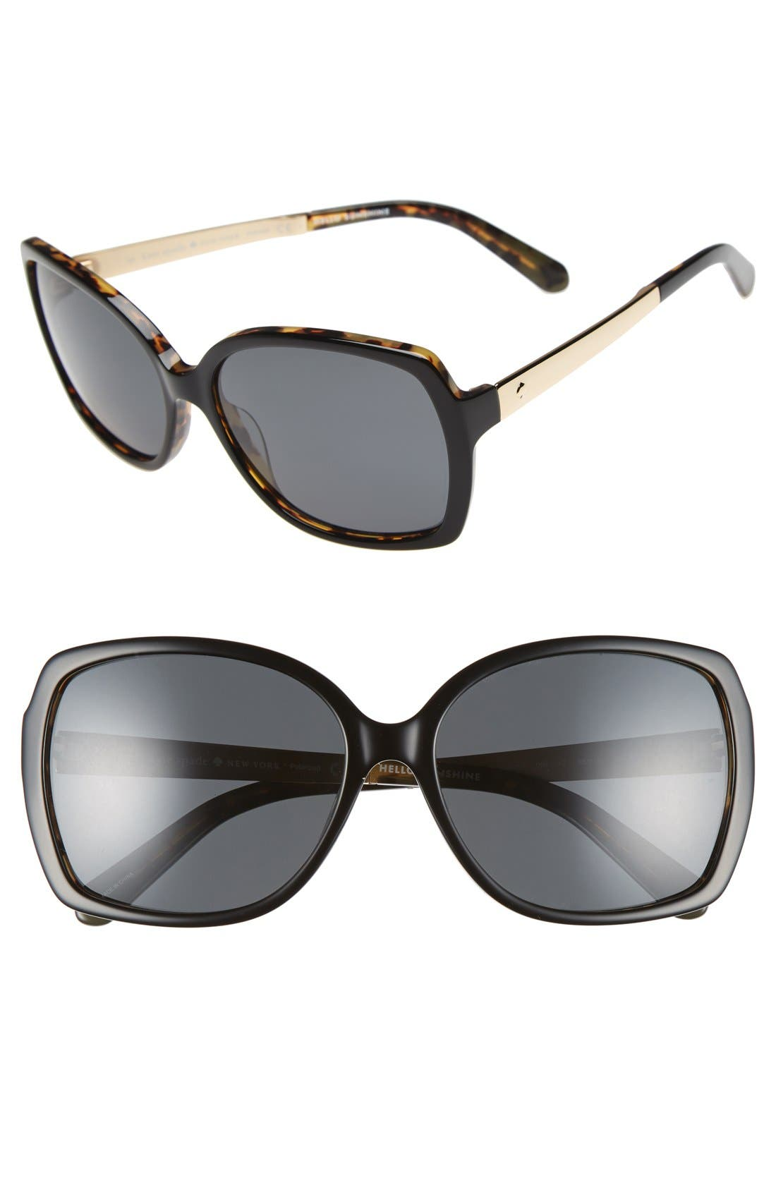 KATE SPADE NEW YORK 'darilynn' 58mm polarized sunglasses, Main, color, 001