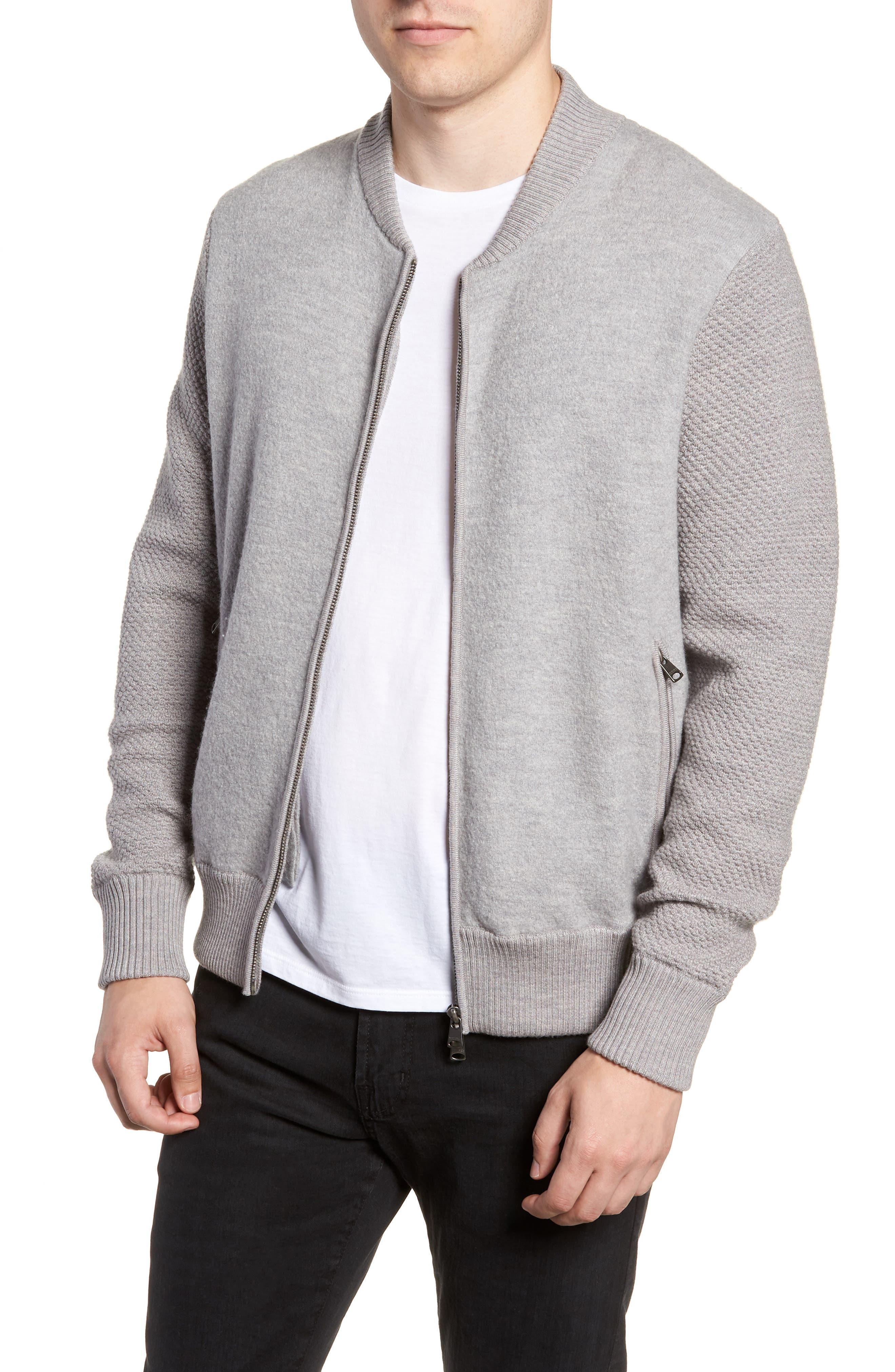 Felted Wool Bomber Jacket,                         Main,                         color, LIGHT GREY MELANGE