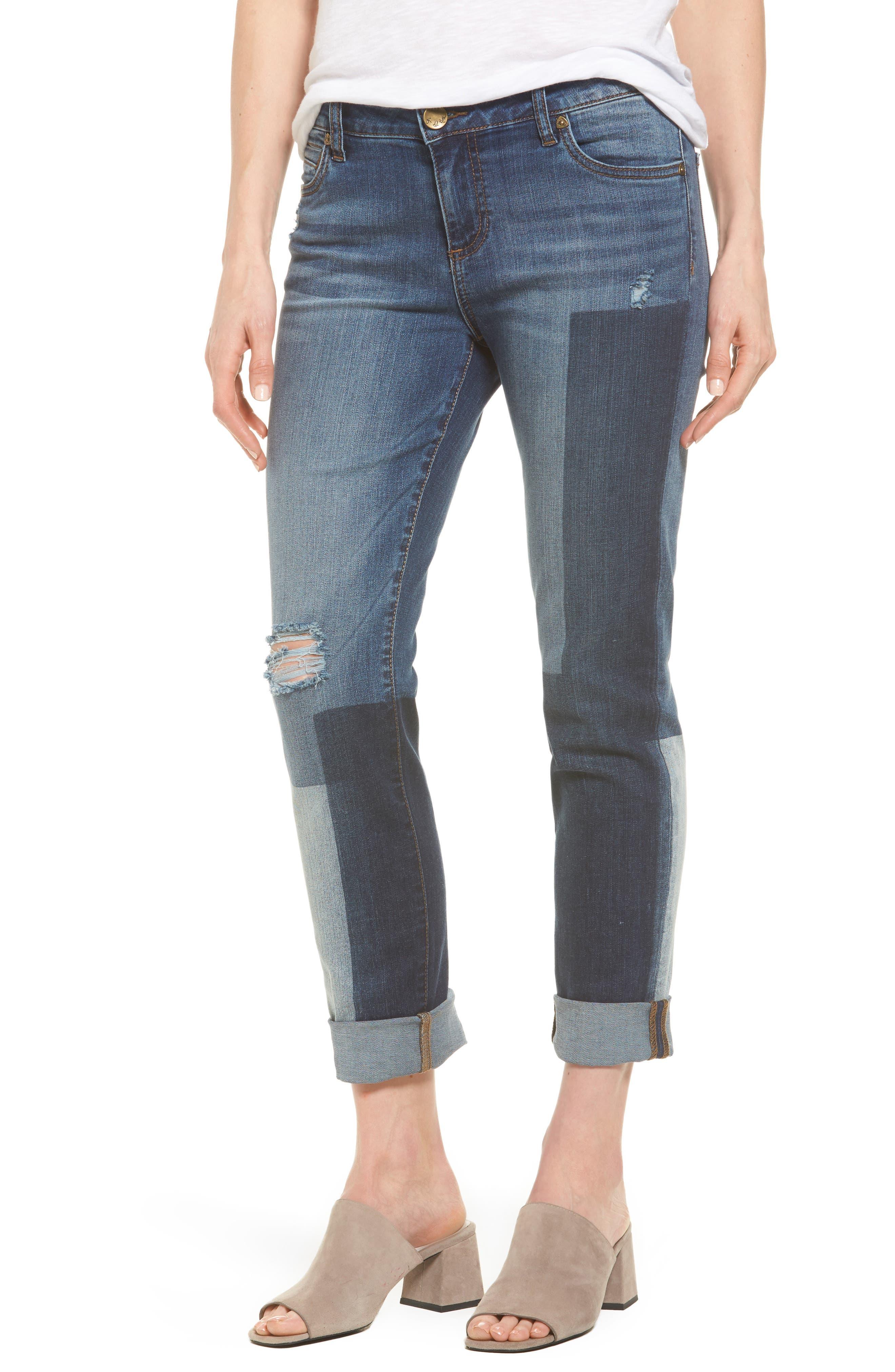 Catherine Colorblock Slim Boyfriend Jeans,                         Main,                         color,