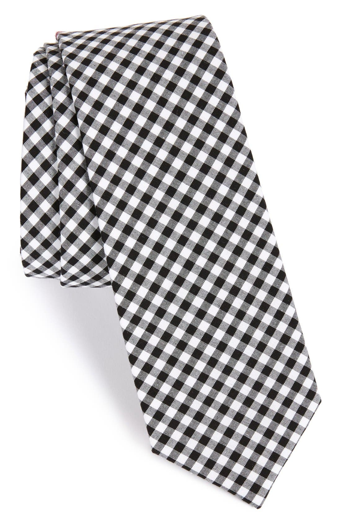 Check Cotton Tie,                             Main thumbnail 1, color,                             001