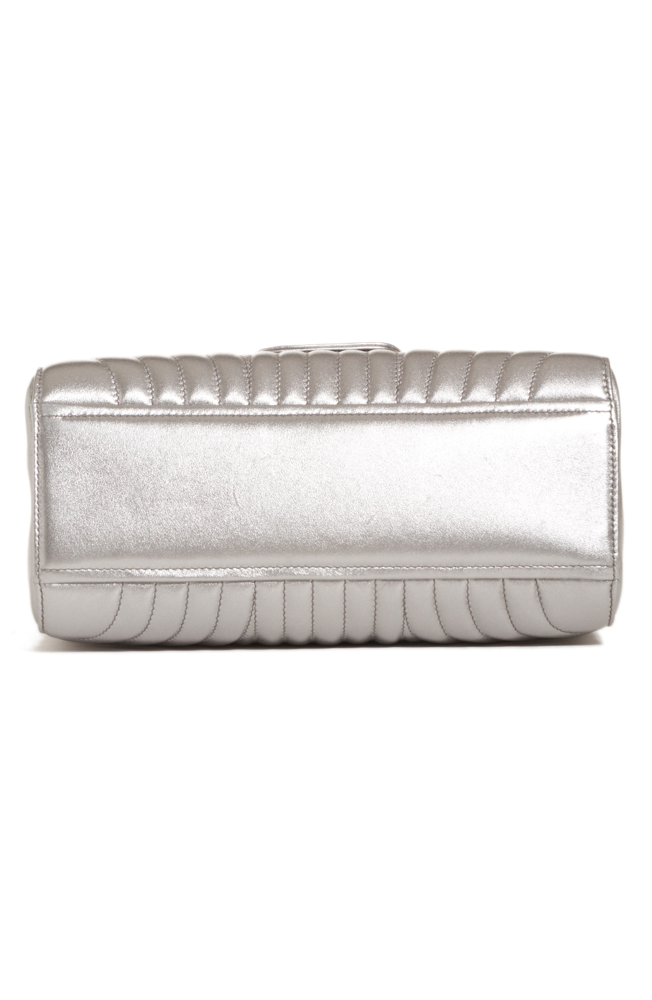Quilted Metallic Lambskin Leather Handbag,                             Alternate thumbnail 5, color,                             CROMO