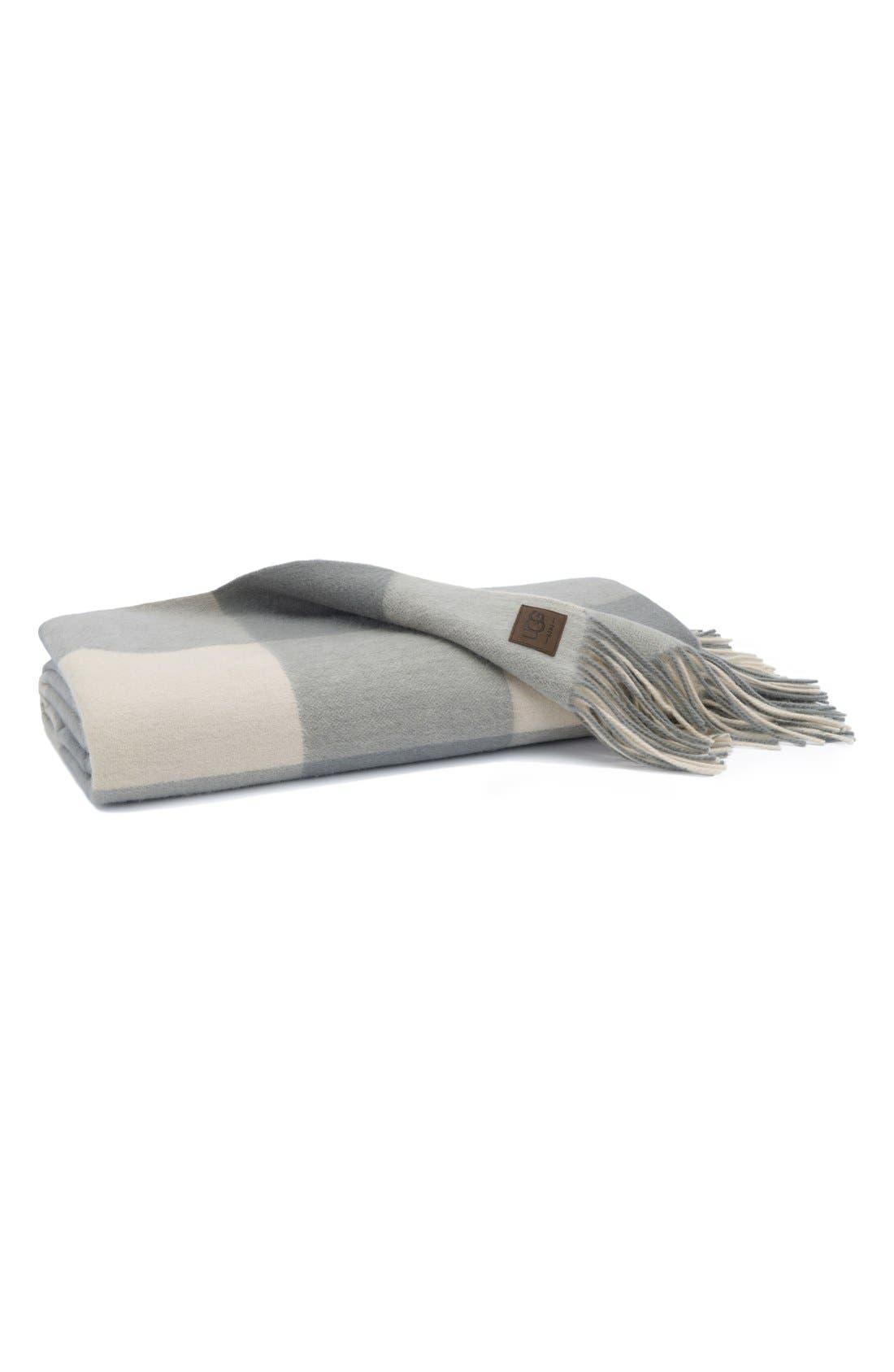 Buffalo Check Wool Throw,                         Main,                         color, 020
