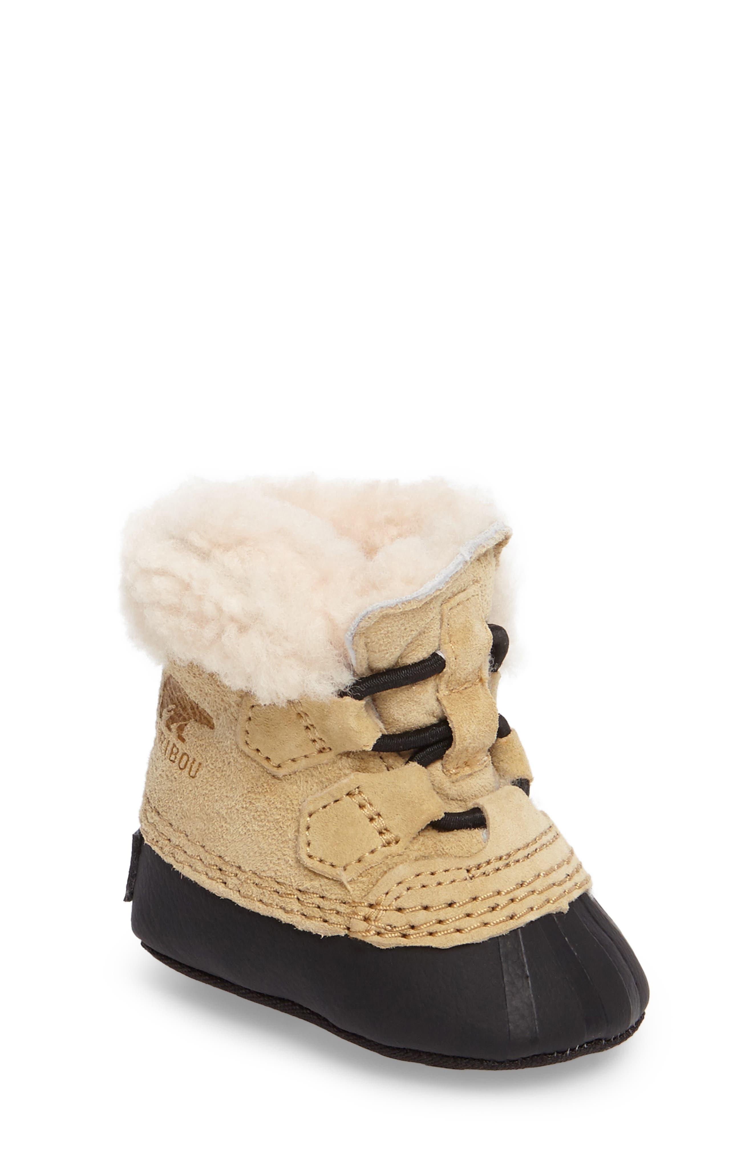 Caribootie Genuine Shearling Crib Shoe,                             Main thumbnail 3, color,