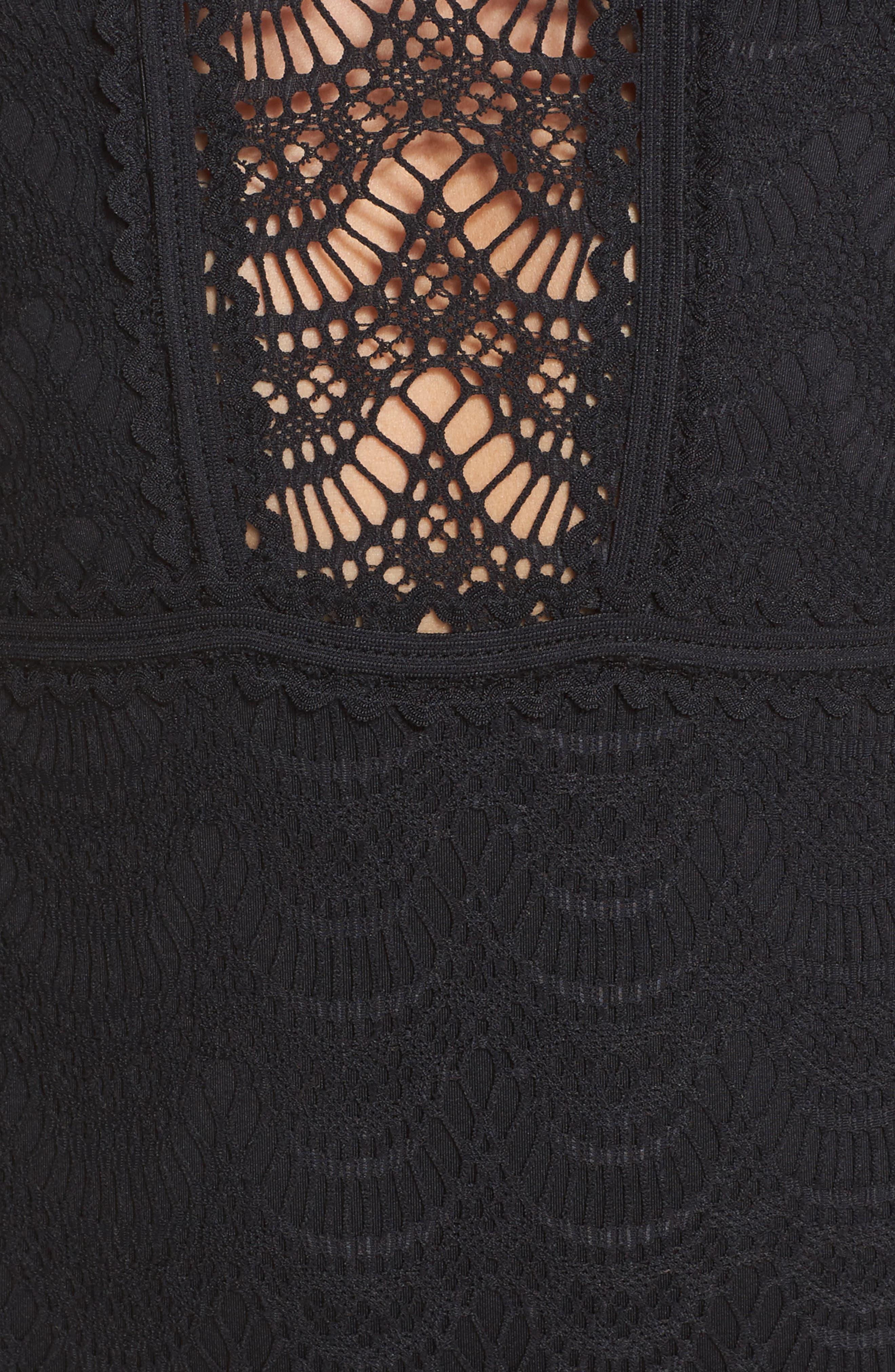 Color Play High Leg One-Piece Swimsuit,                             Alternate thumbnail 5, color,                             BLACK