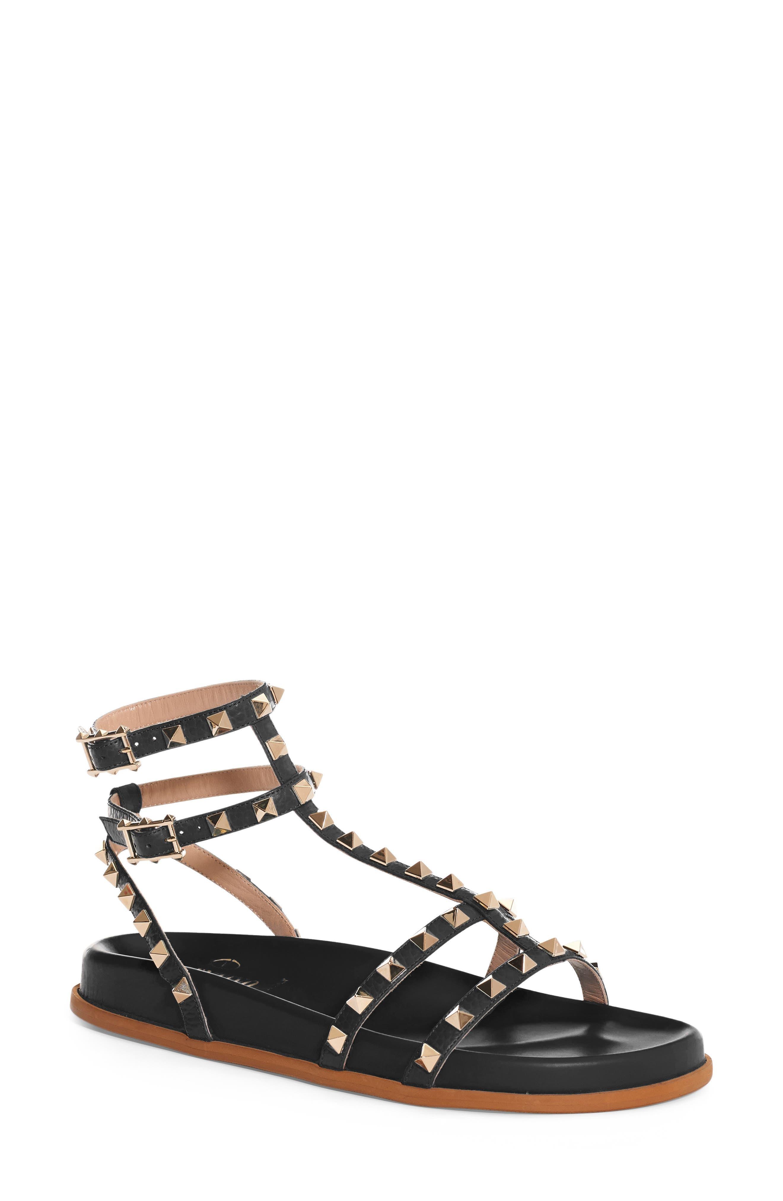 Rockstud Flatform Sandal,                         Main,                         color,