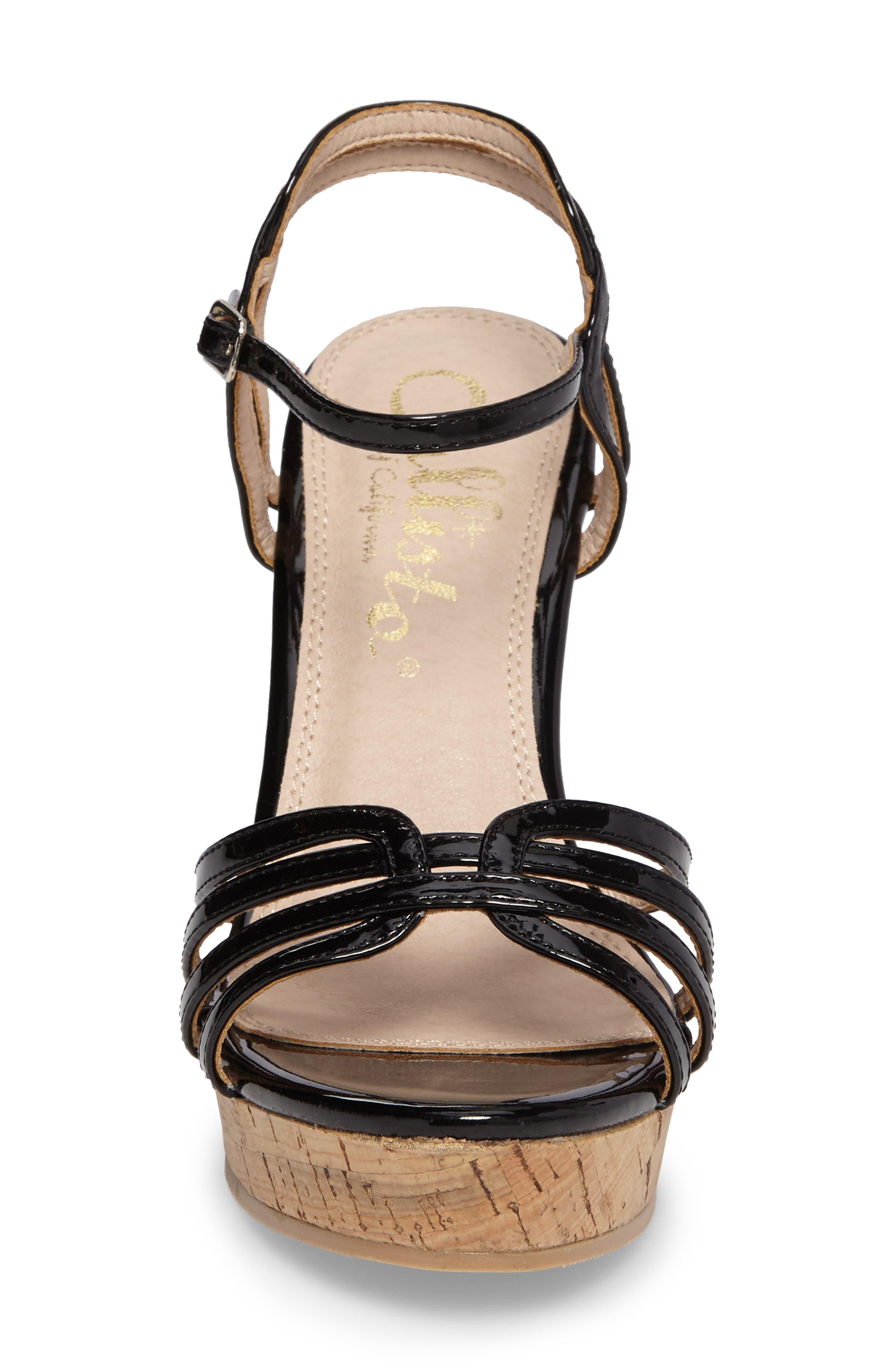 Oasis Platform Wedge Sandal,                             Alternate thumbnail 4, color,                             BLACK SYNTHETIC