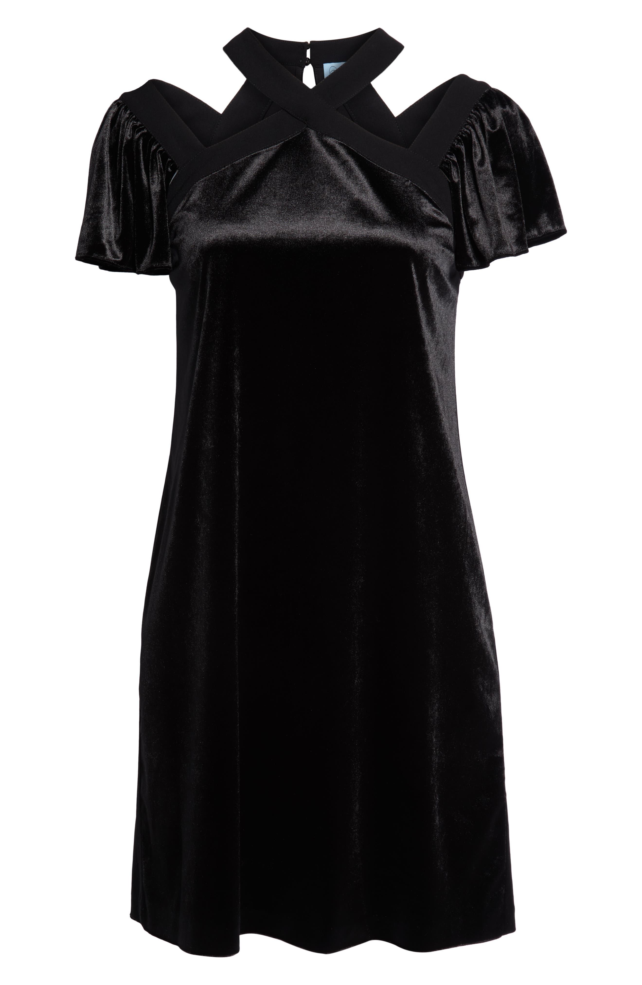 Crisscross Flutter Sleeve Stretch Velvet Dress,                             Alternate thumbnail 3, color,                             006