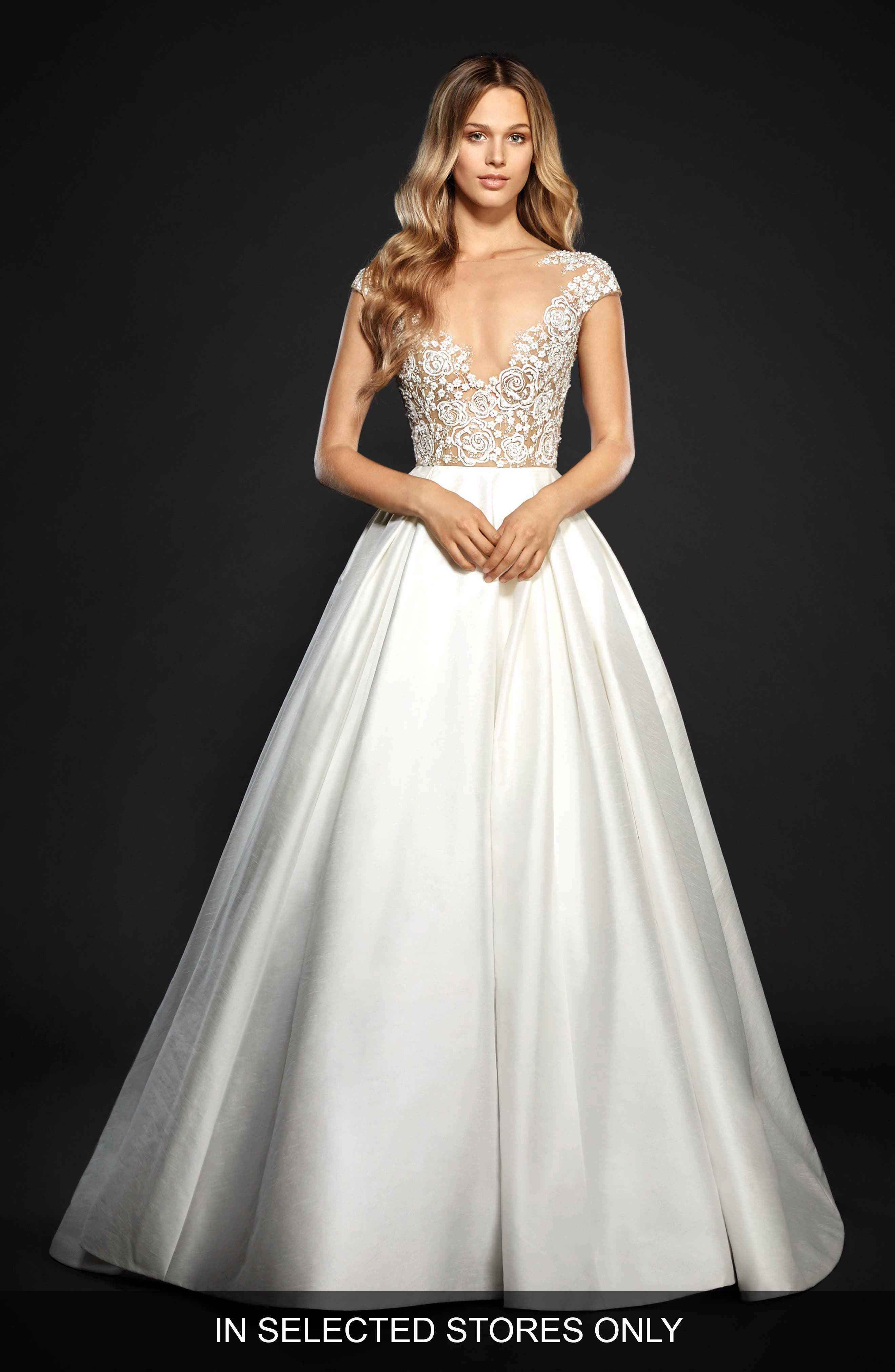 Chandler Floral Embroidered Illusion Ballgown,                             Main thumbnail 1, color,                             IVORY