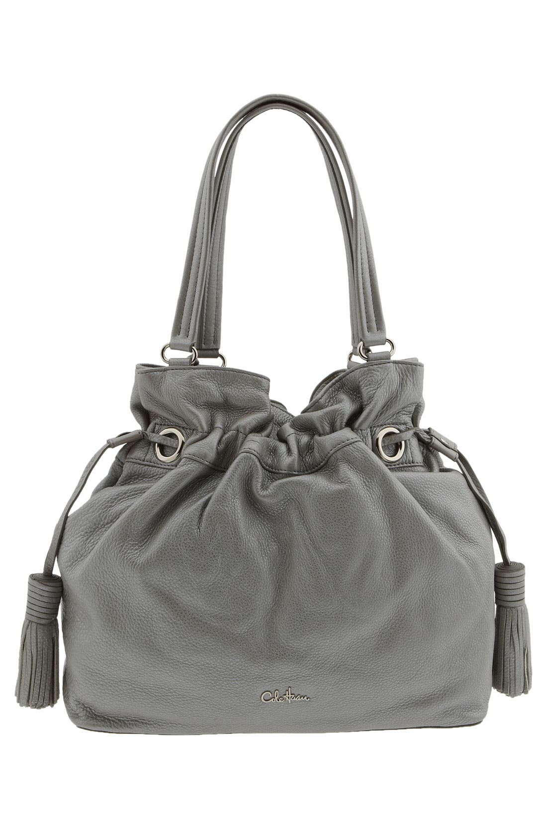 'Bailey' Pebbled Leather Drawstring Tote,                             Alternate thumbnail 12, color,