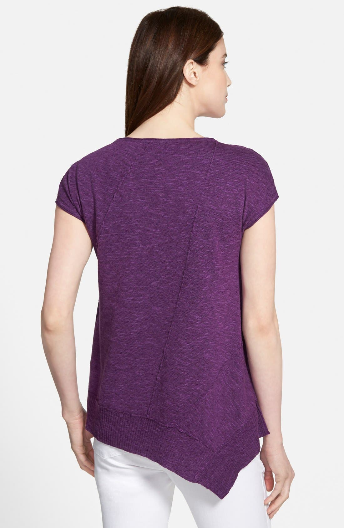 Cap Sleeve Organic Linen & Cotton Scoop Neck Top,                             Alternate thumbnail 51, color,