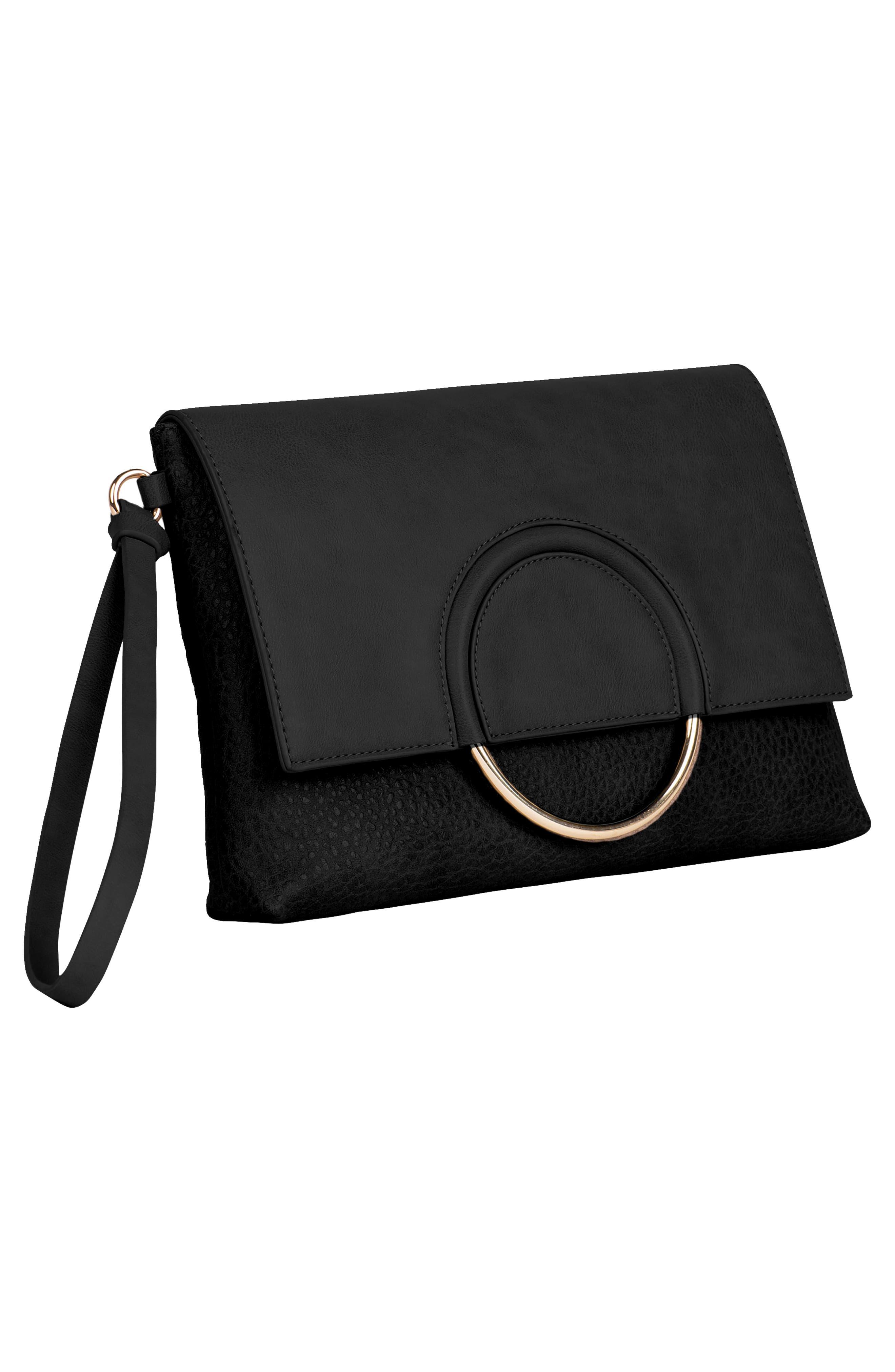 Custom Vegan Leather Wristlet Clutch,                             Alternate thumbnail 3, color,                             BLACK
