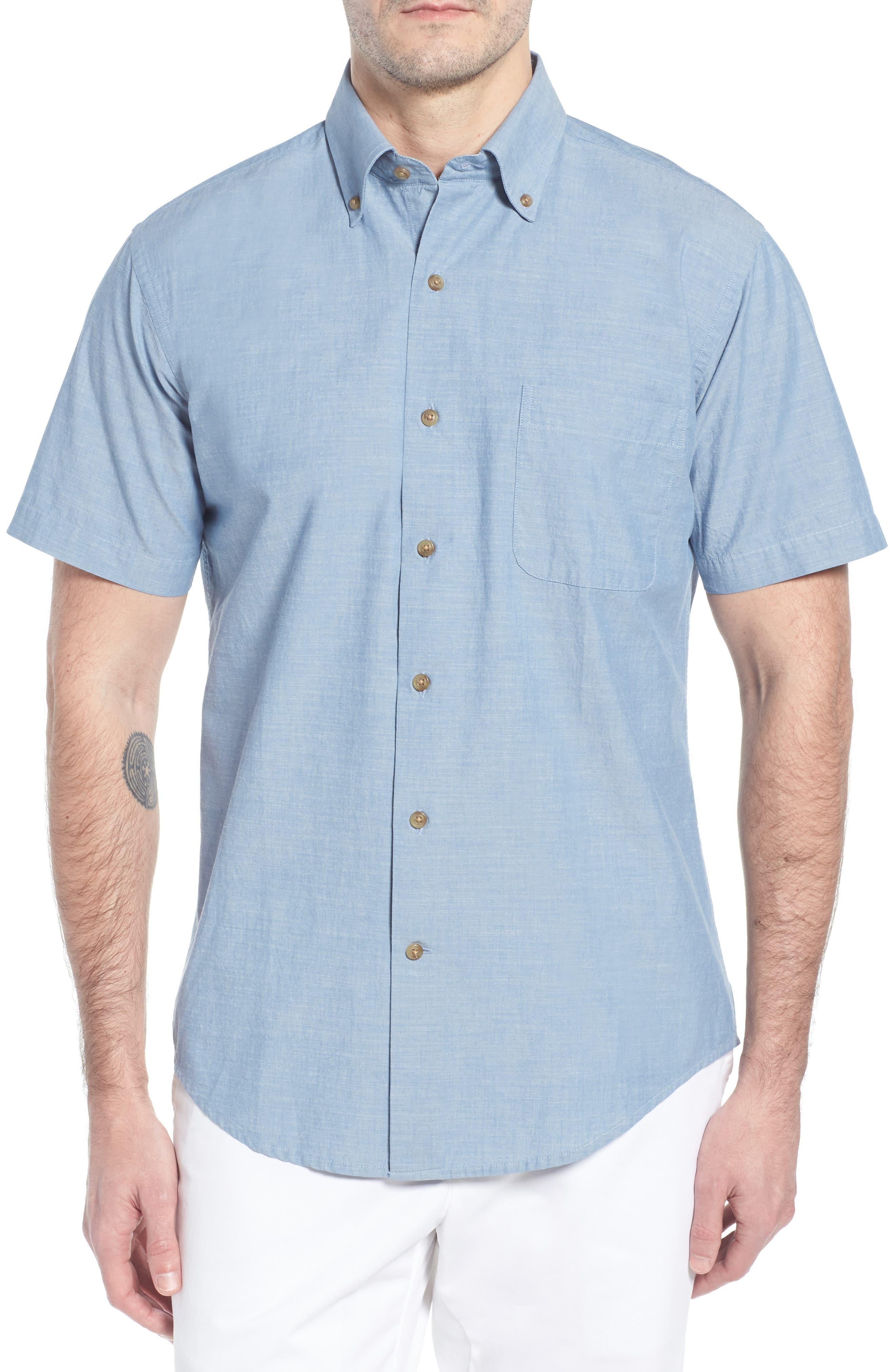 Heritage Chambray Sport Shirt,                         Main,                         color, TAR HEEL BLUE
