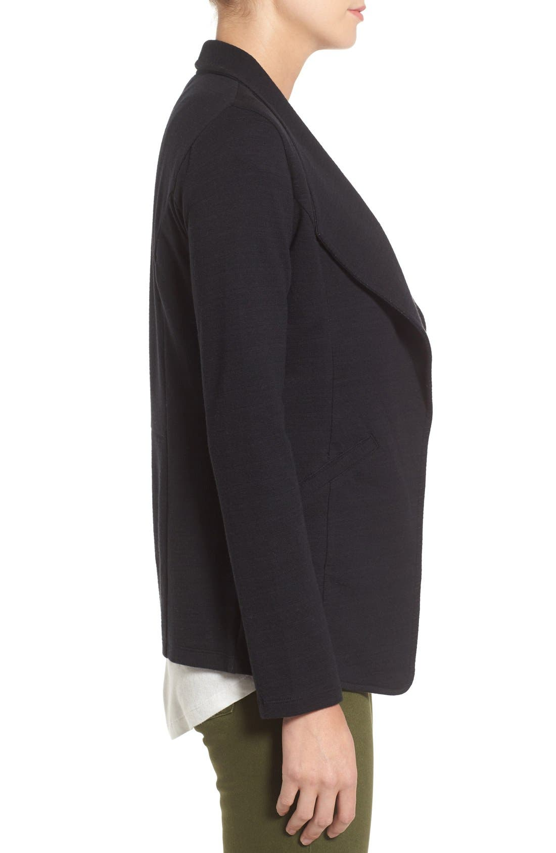 Cotton Knit Open Front Blazer,                             Alternate thumbnail 5, color,                             001