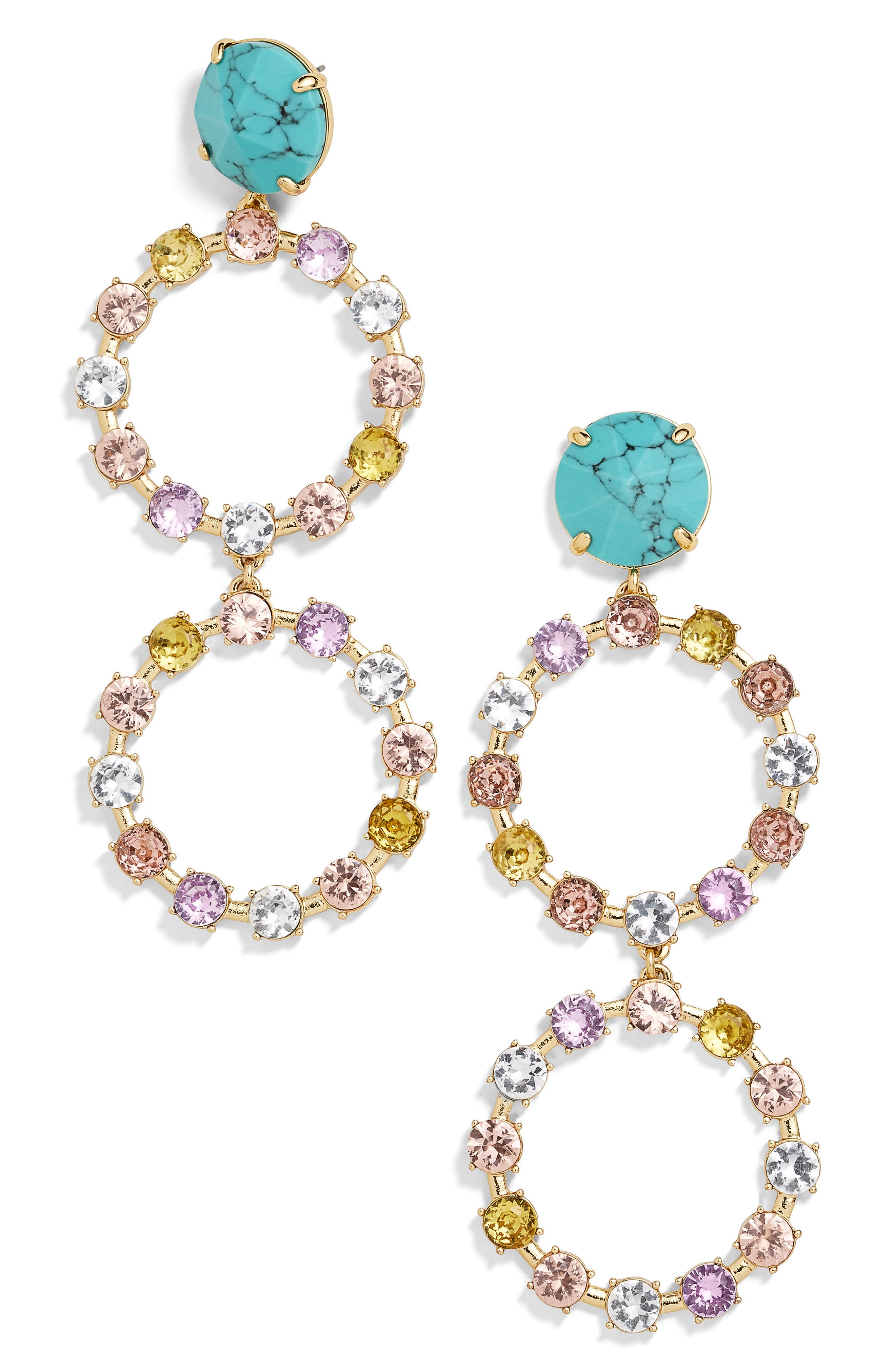x Micaela Erlanger Go Big or Go Home Drop Earrings,                             Main thumbnail 1, color,                             TURQUOISE/ GOLD