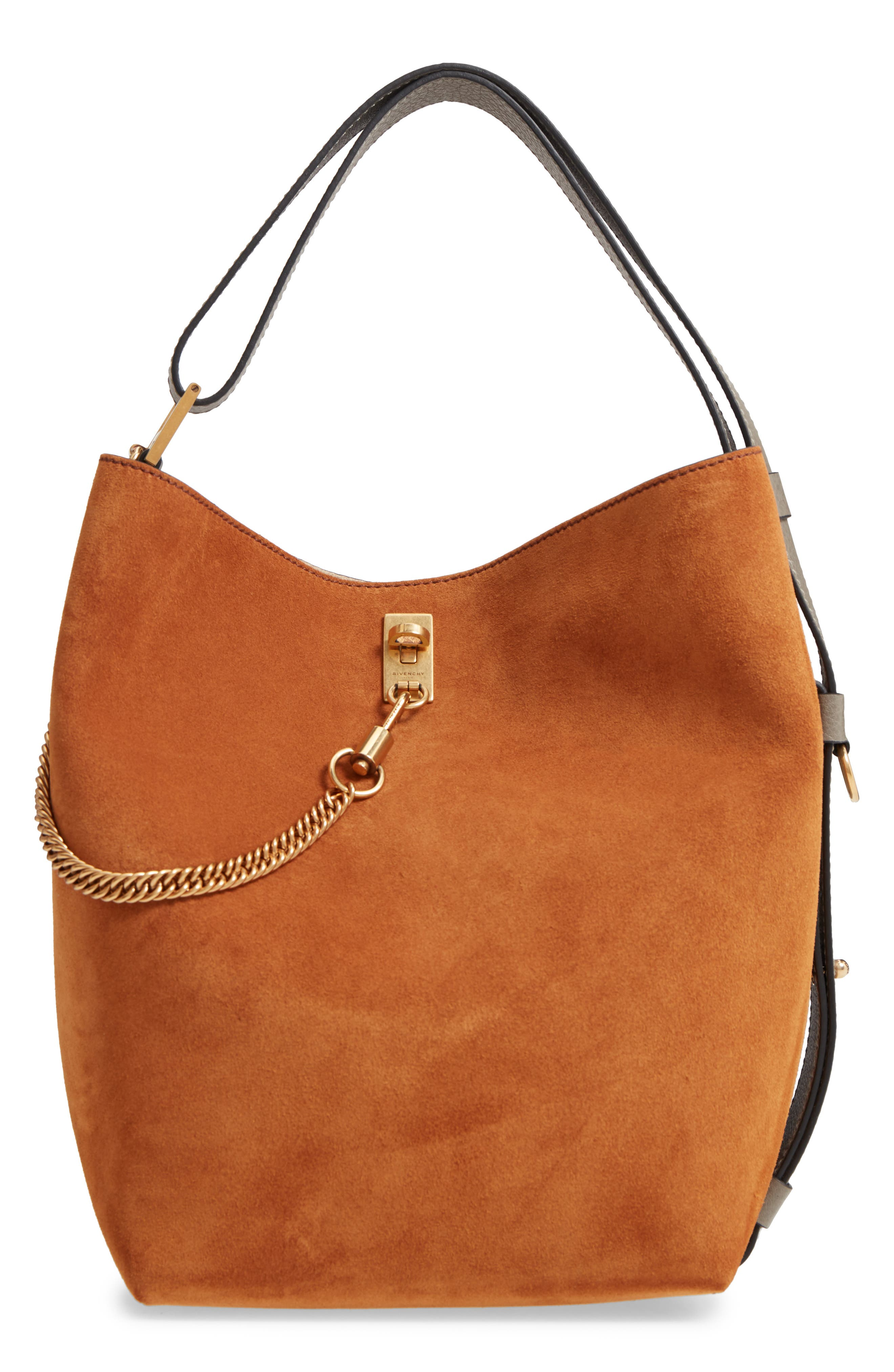 Medium GV Lambskin Bucket Bag,                             Main thumbnail 1, color,                             BLACK/ CHESTNUT