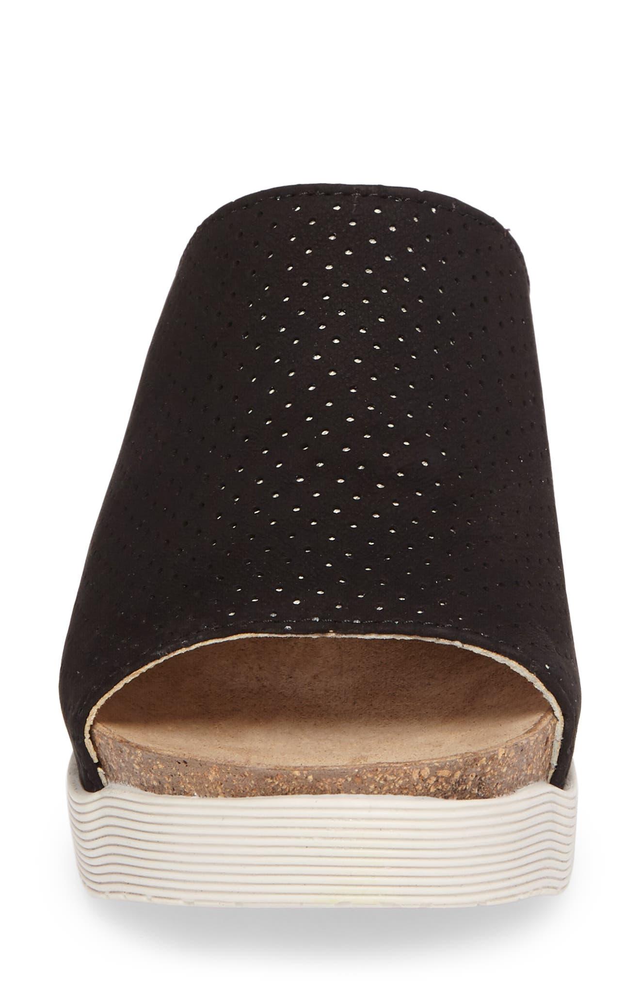 Whin Platform Sandal,                             Alternate thumbnail 4, color,                             BLACK CUPIDO LEATHER