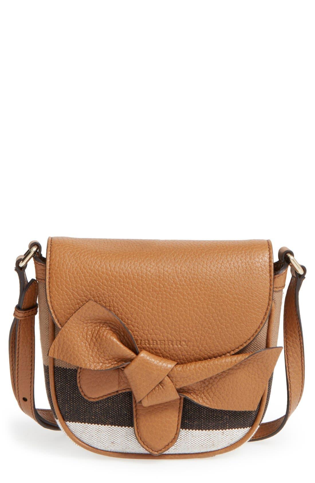 BURBERRY,                             Canvas Check & Leather Crossbody Bag,                             Main thumbnail 1, color,                             251