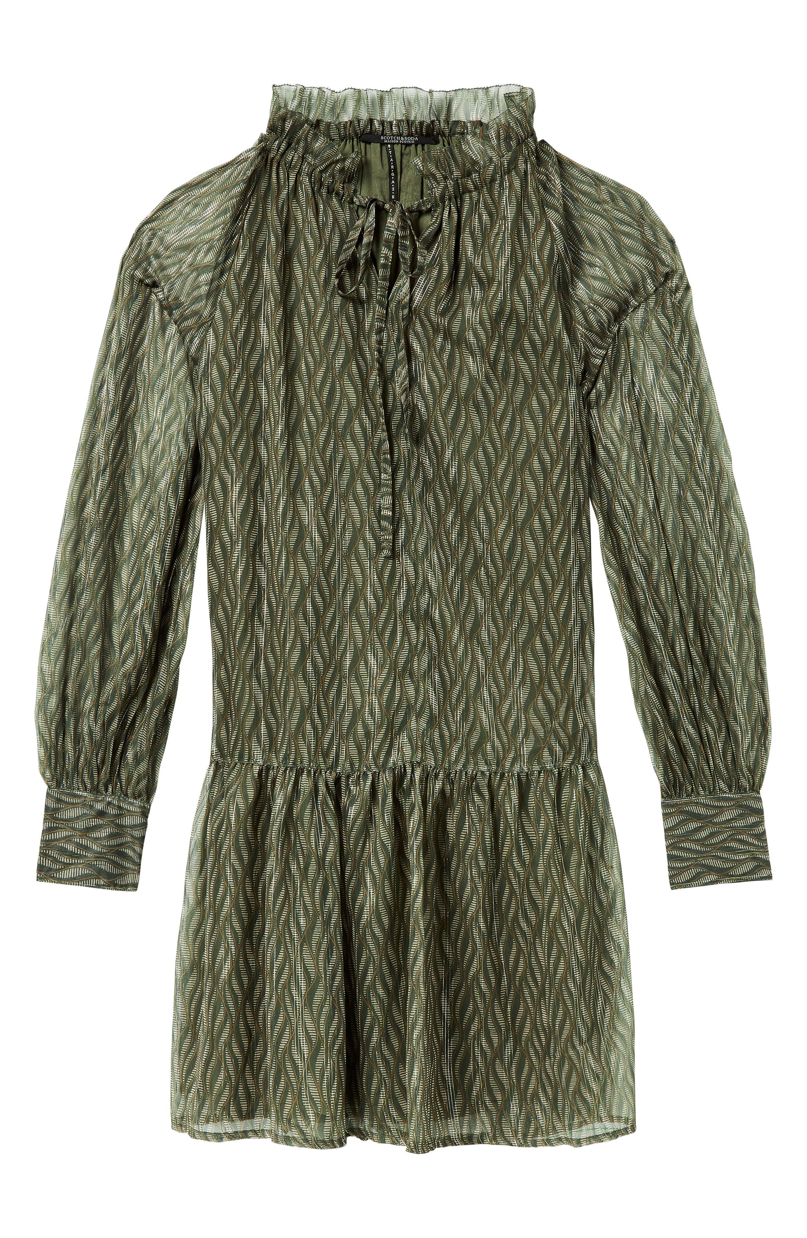 Print Metallic Ruffle Hem Dress,                             Alternate thumbnail 3, color,                             SAGE GREEN PRINT W/