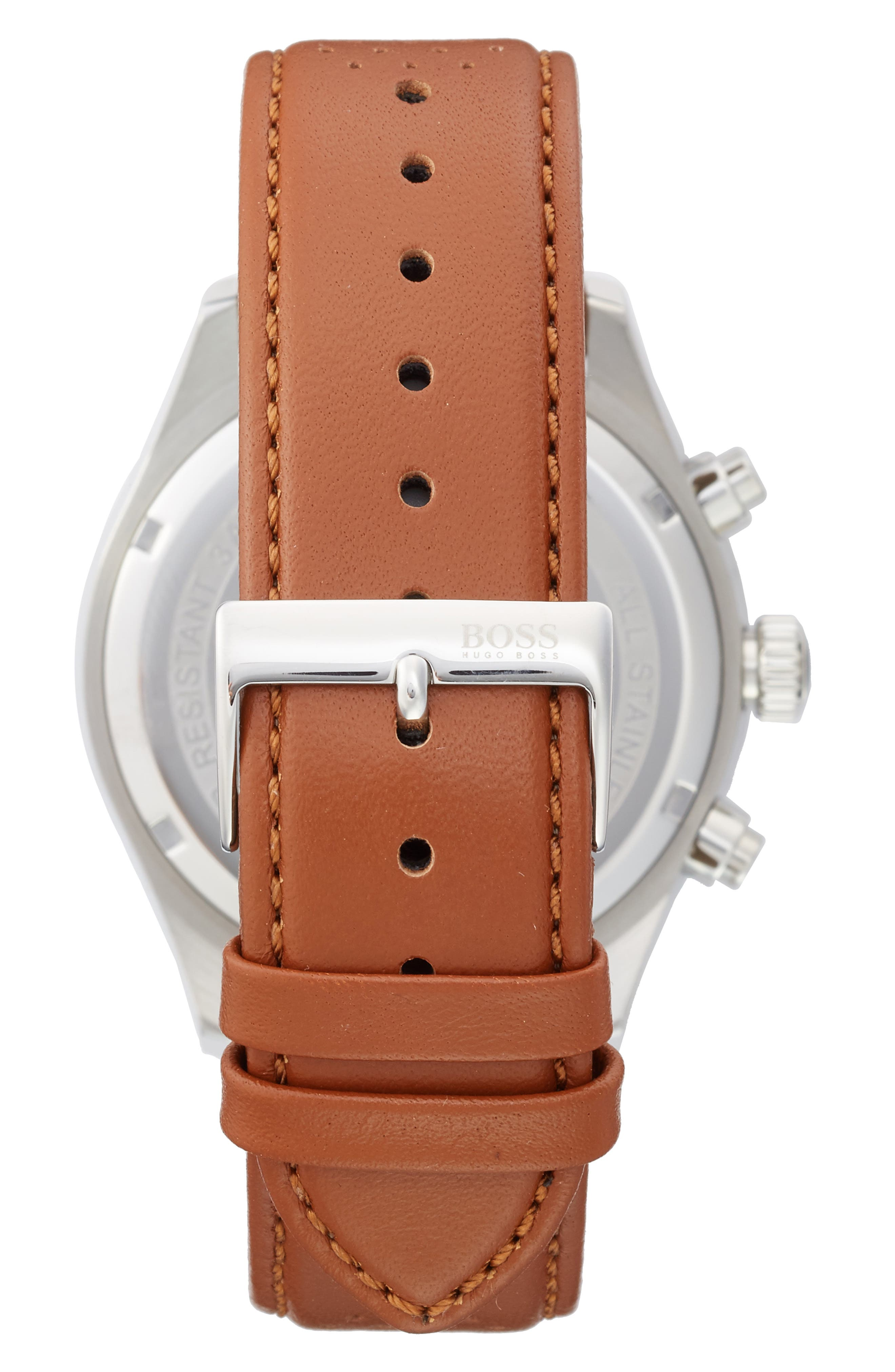 BOSS,                             Grand Prix Leather Strap Chronograph Watch, 44mm,                             Alternate thumbnail 2, color,                             200