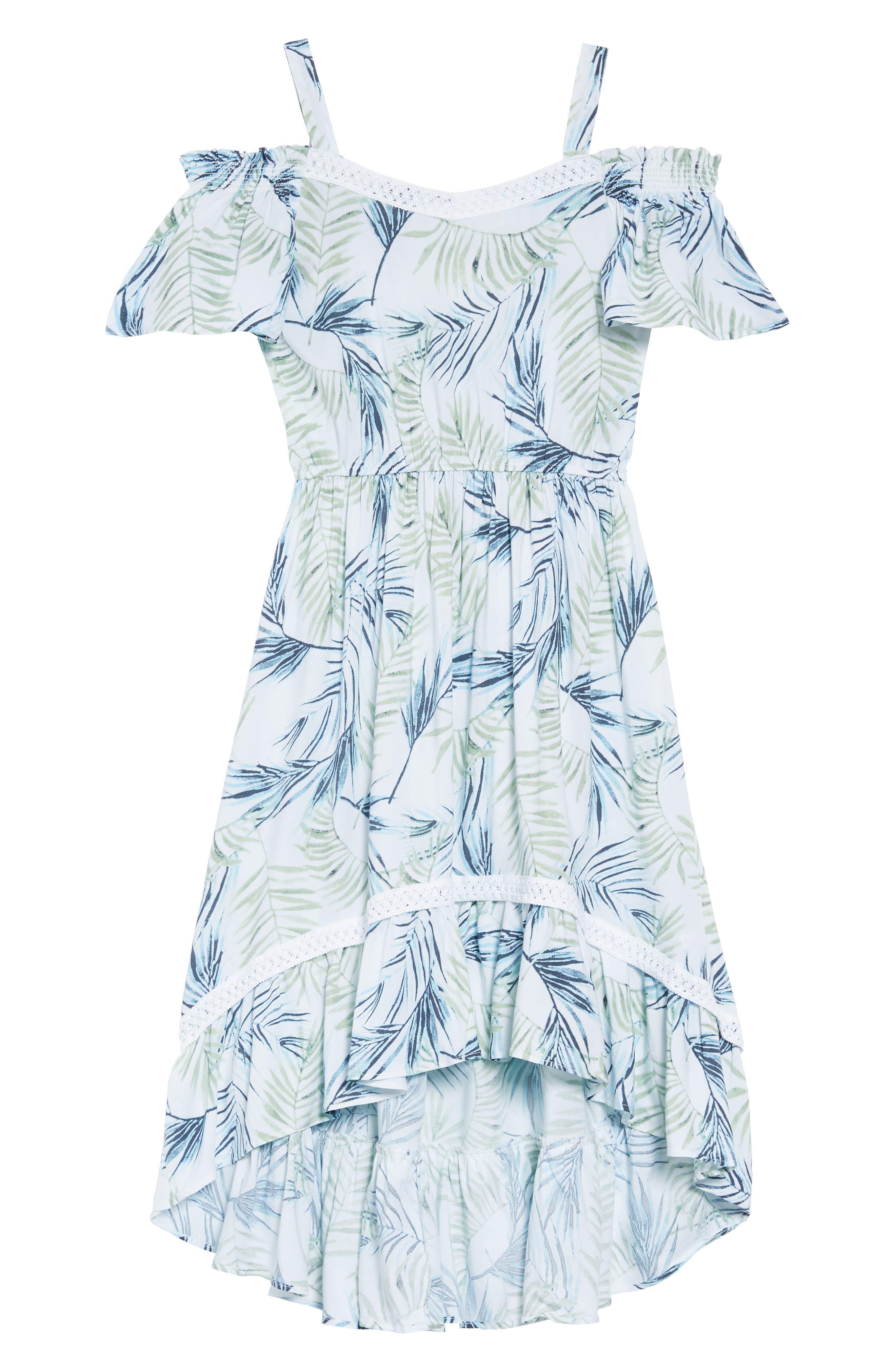 Palm Leaf Print Cold Shoulder Dress,                             Main thumbnail 1, color,                             100