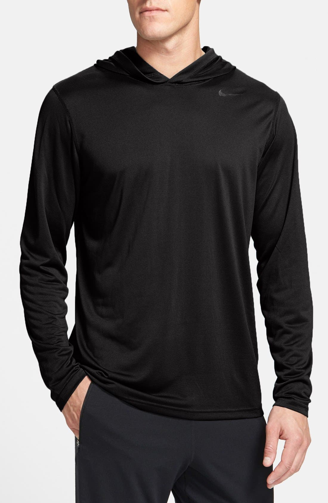 'Vapor Touch' Dri-FIT Long Sleeve Hoodie,                             Main thumbnail 1, color,                             010