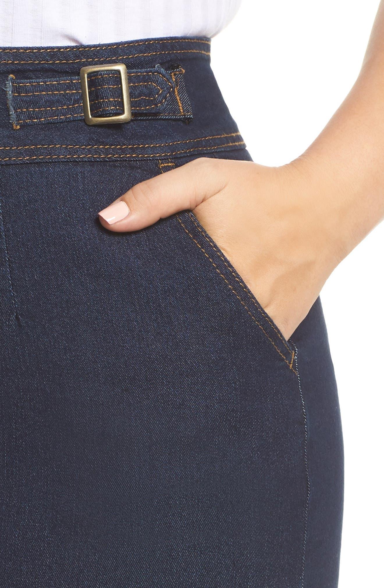Denim Pencil Skirt,                             Alternate thumbnail 4, color,                             DARK DENIM