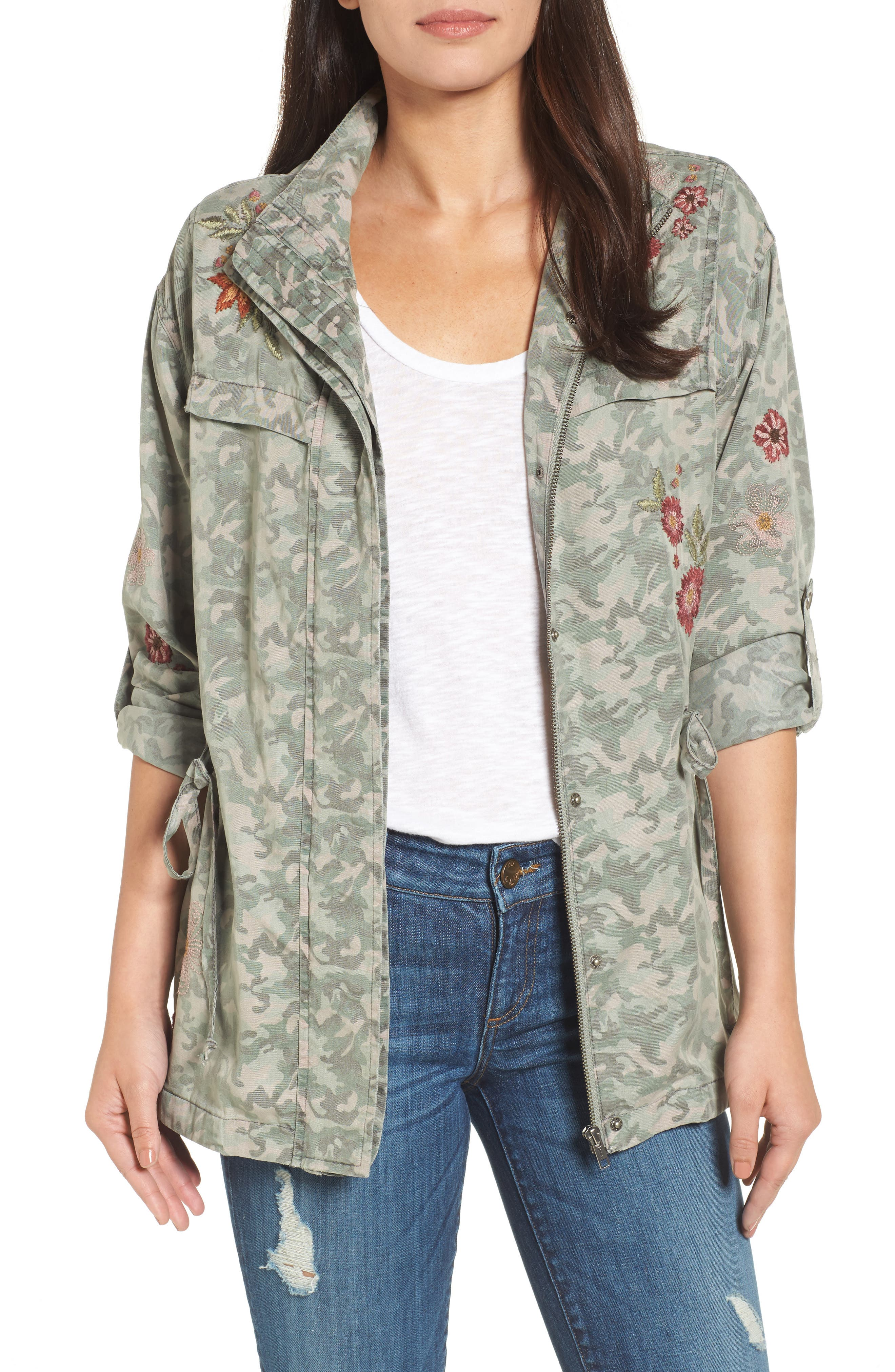 Embroidered Camo Jacket,                             Main thumbnail 1, color,                             303