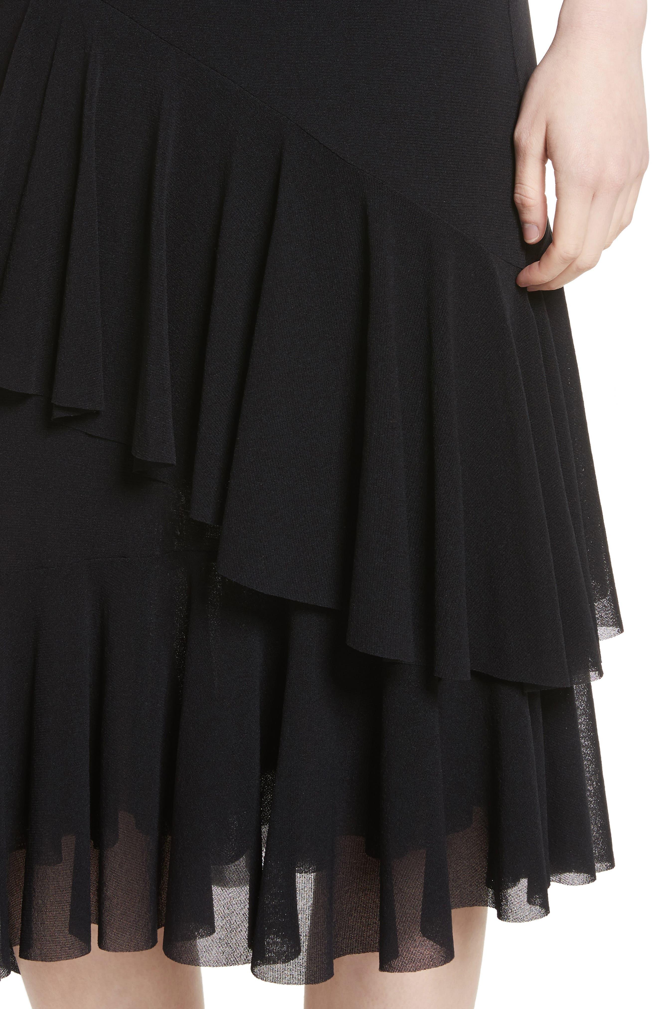 Ruffle Tulle Midi Skirt,                             Alternate thumbnail 4, color,                             NERO