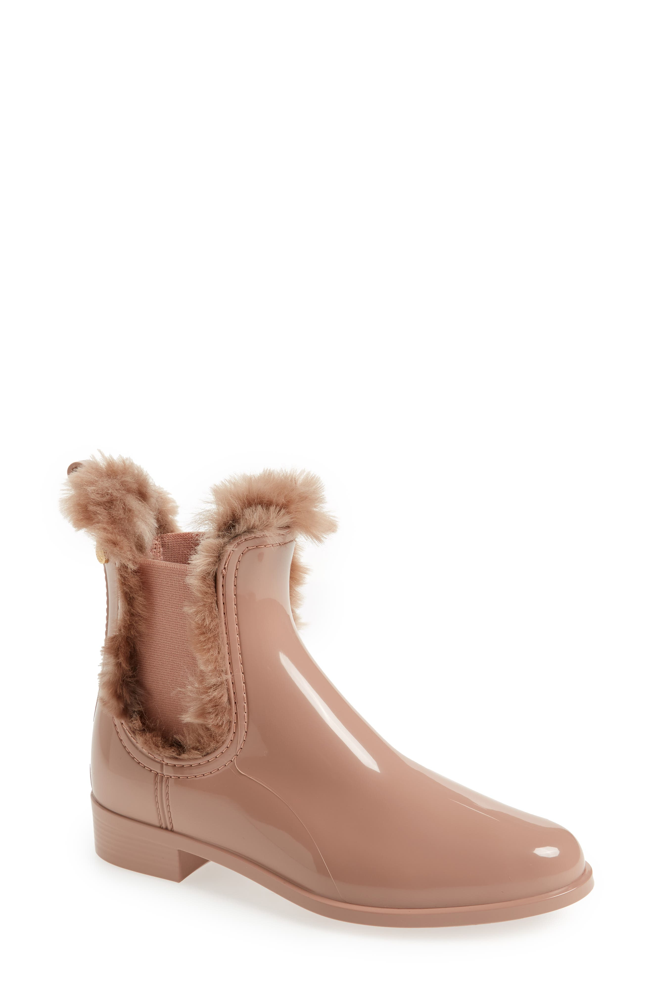 Aisha Waterproof Chelsea Boot with Faux Fur Lining,                             Main thumbnail 1, color,                             ROSE MATTE
