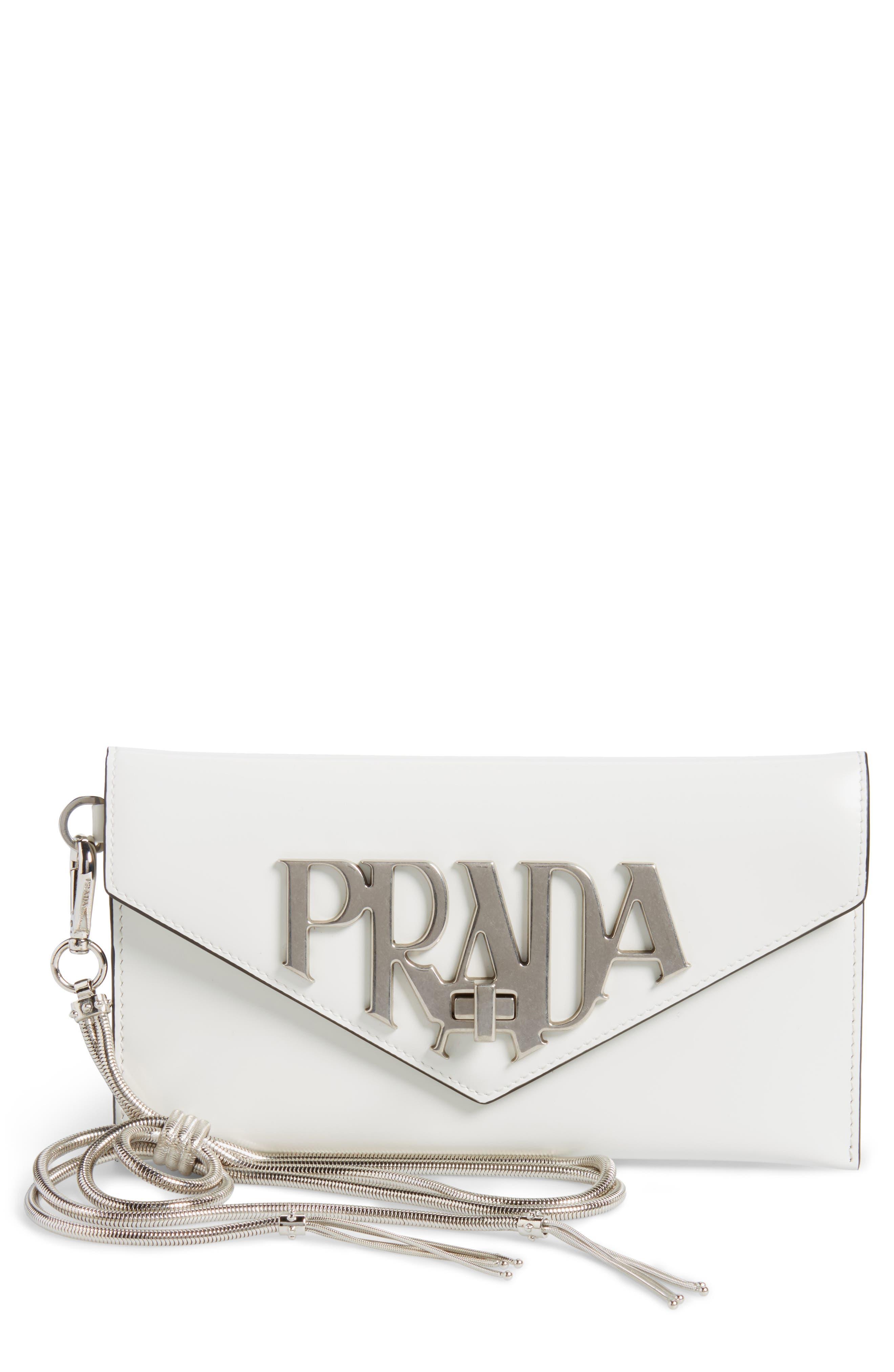 Spazzolato Leather Wristlet,                         Main,                         color, BIANCO