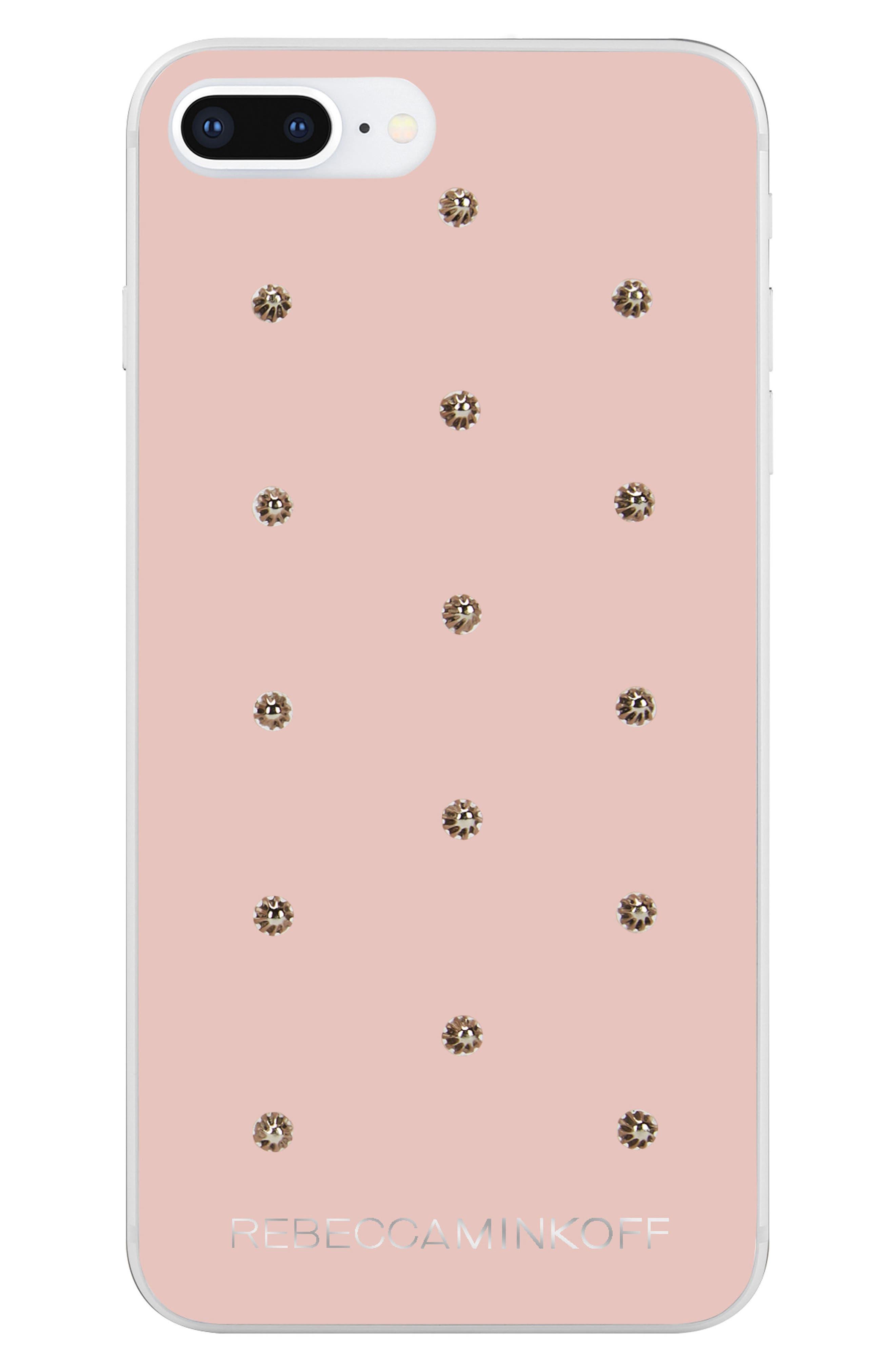Flower Stud iPhone 7/8 & 7/8 Plus Case,                             Main thumbnail 1, color,                             ROSE GOLD/ GOLD STUDS