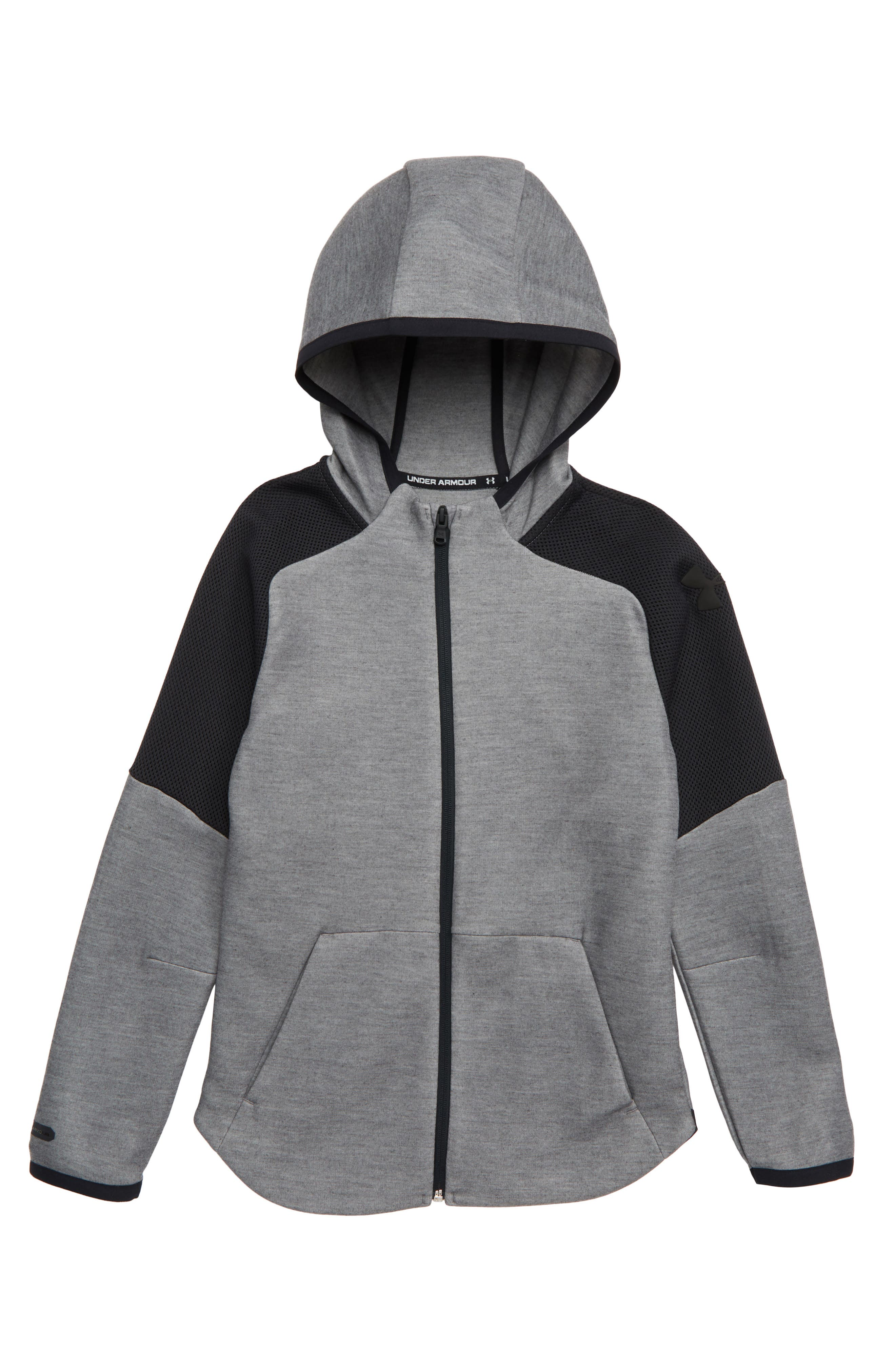 UNDER ARMOUR Unstoppable Move Lite Hoodie, Main, color, LIGHT HEATHER/ BLACK