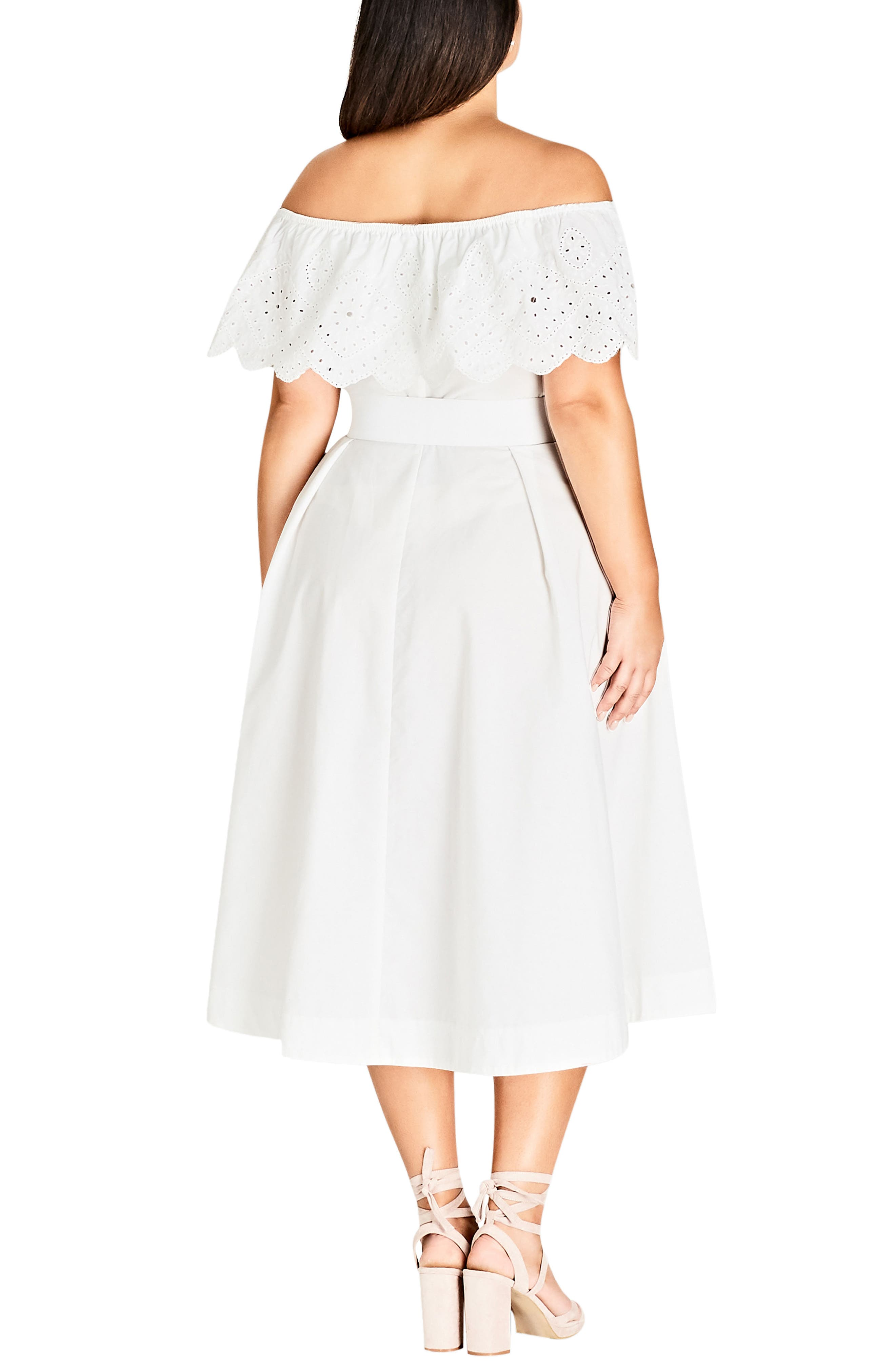 Embroidered Off the Shoulder Fit & Flare Dress,                             Alternate thumbnail 2, color,                             WHITE