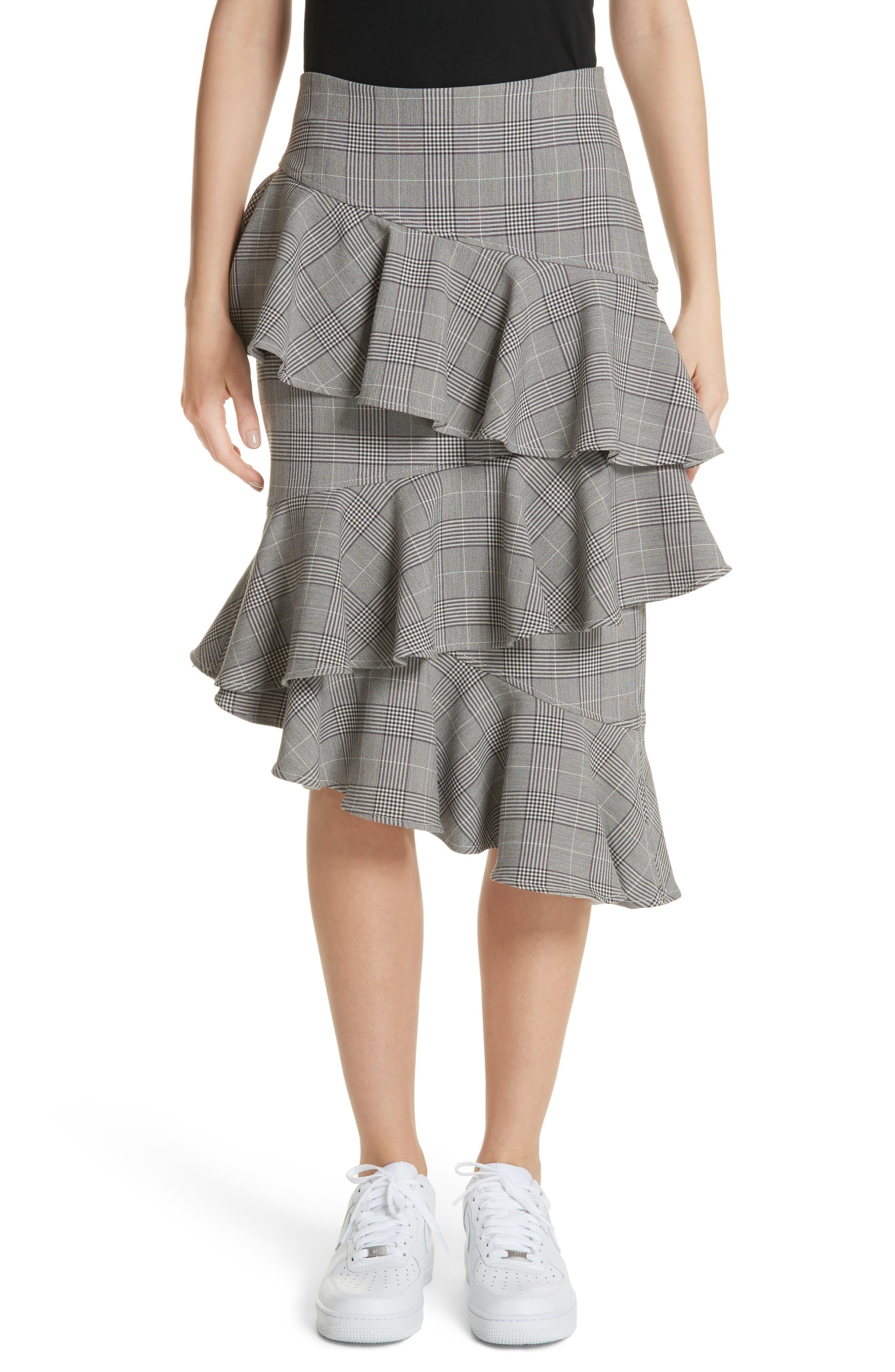 Garvey Plaid Ruffle Tier Skirt,                             Main thumbnail 1, color,                             020