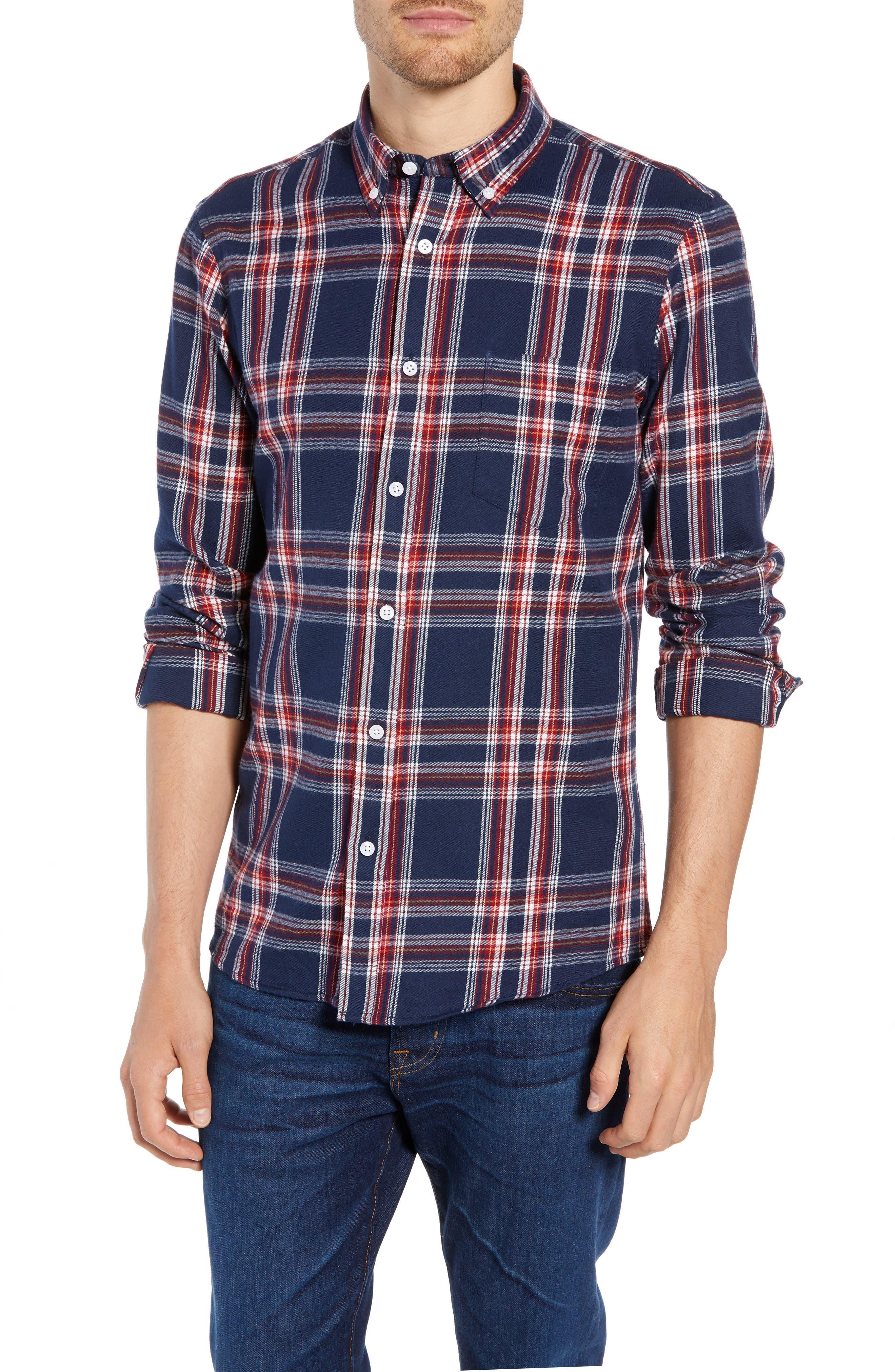 Nordstrom Shop Slim Fit Plaid Sport Shirt