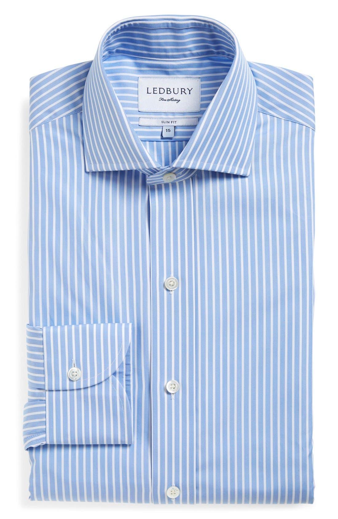 'Blue Banker' Slim Fit Stripe Dress Shirt,                         Main,                         color, BLUE
