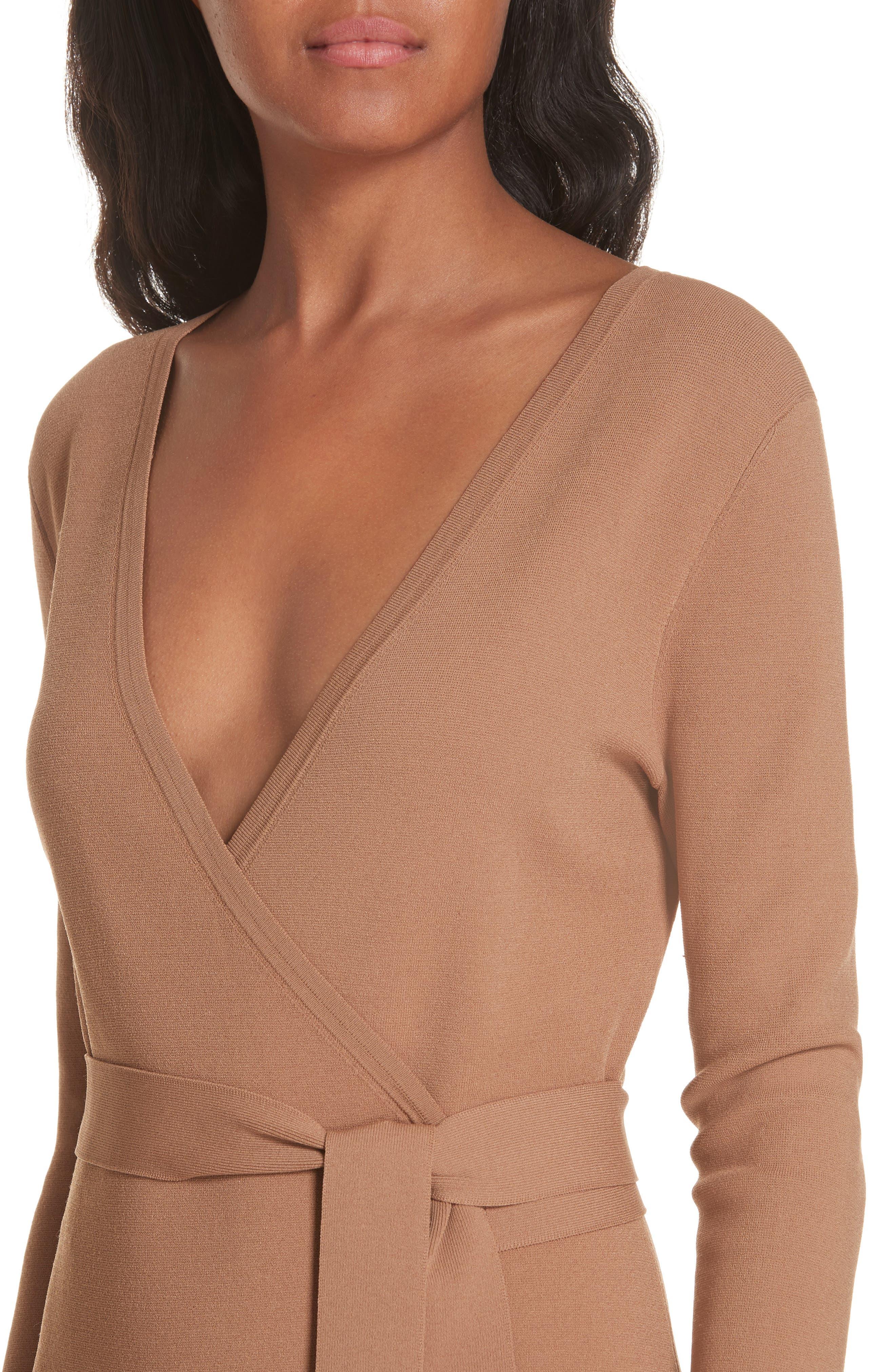 Diane von Furstenberg Knit Wrap Dress,                             Alternate thumbnail 4, color,                             WALNUT