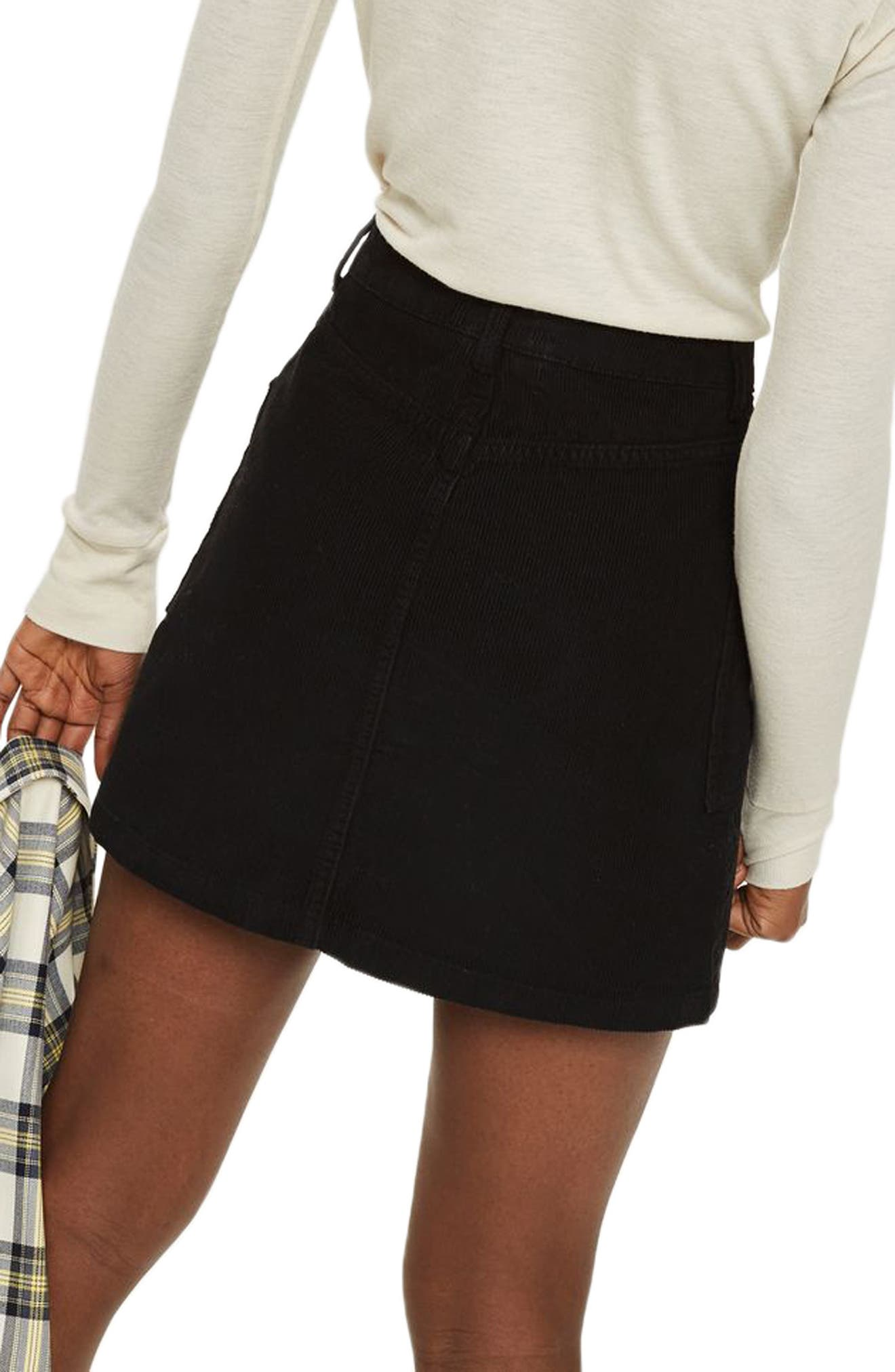 Zip Through Corduroy Skirt,                             Alternate thumbnail 2, color,                             001